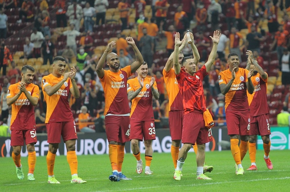 Galatasaray players celebrate after a win in Europa League against Lazio, Istanbul, Turkey, Sept. 16, 2021. (DHA Photo)