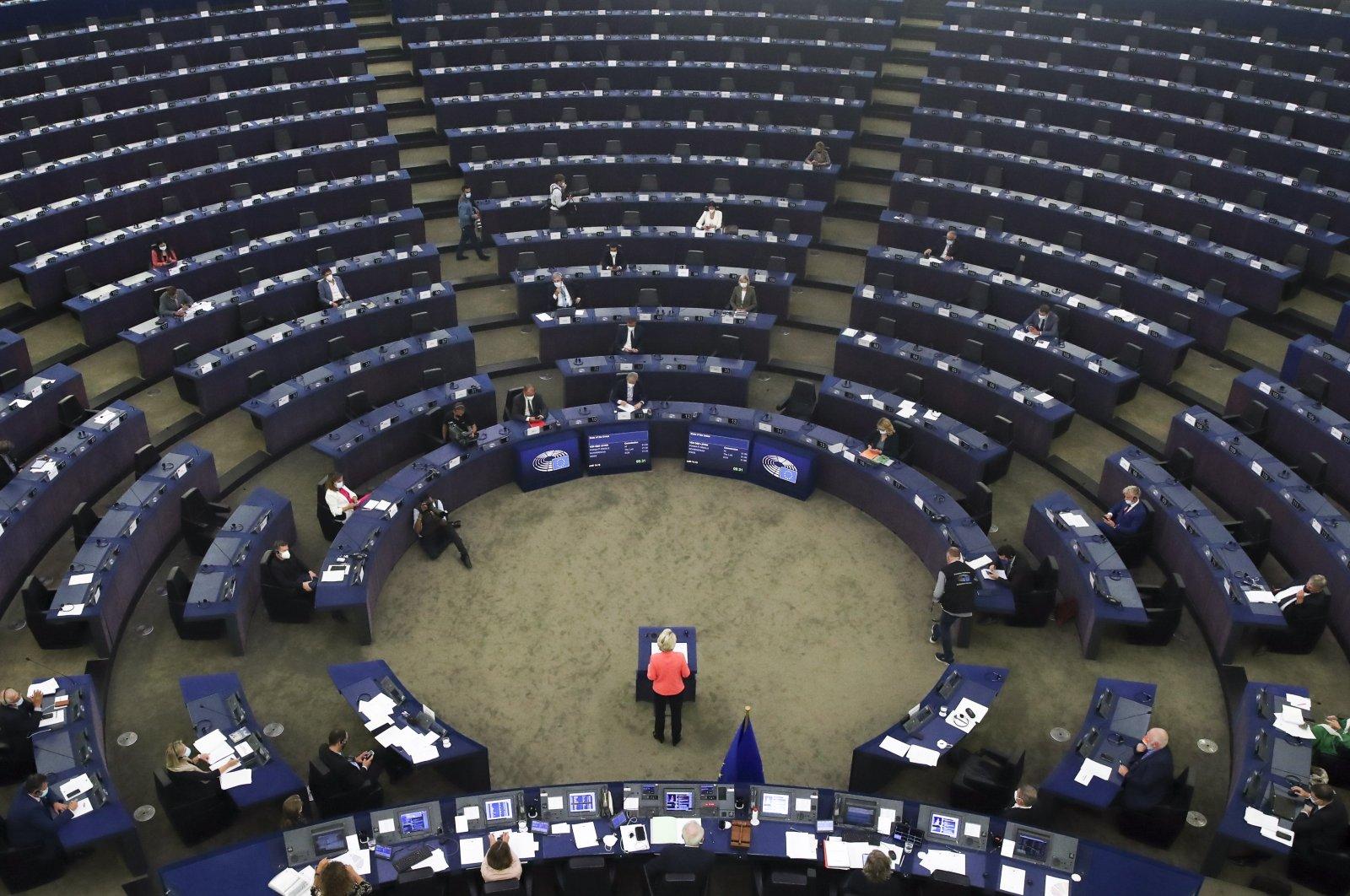"European Commission President Ursula von der Leyen delivers a speech during a debate on ""The State of the European Union"" at the European Parliament in Strasbourg, France, Sept. 15, 2021. (EPA Photo)"