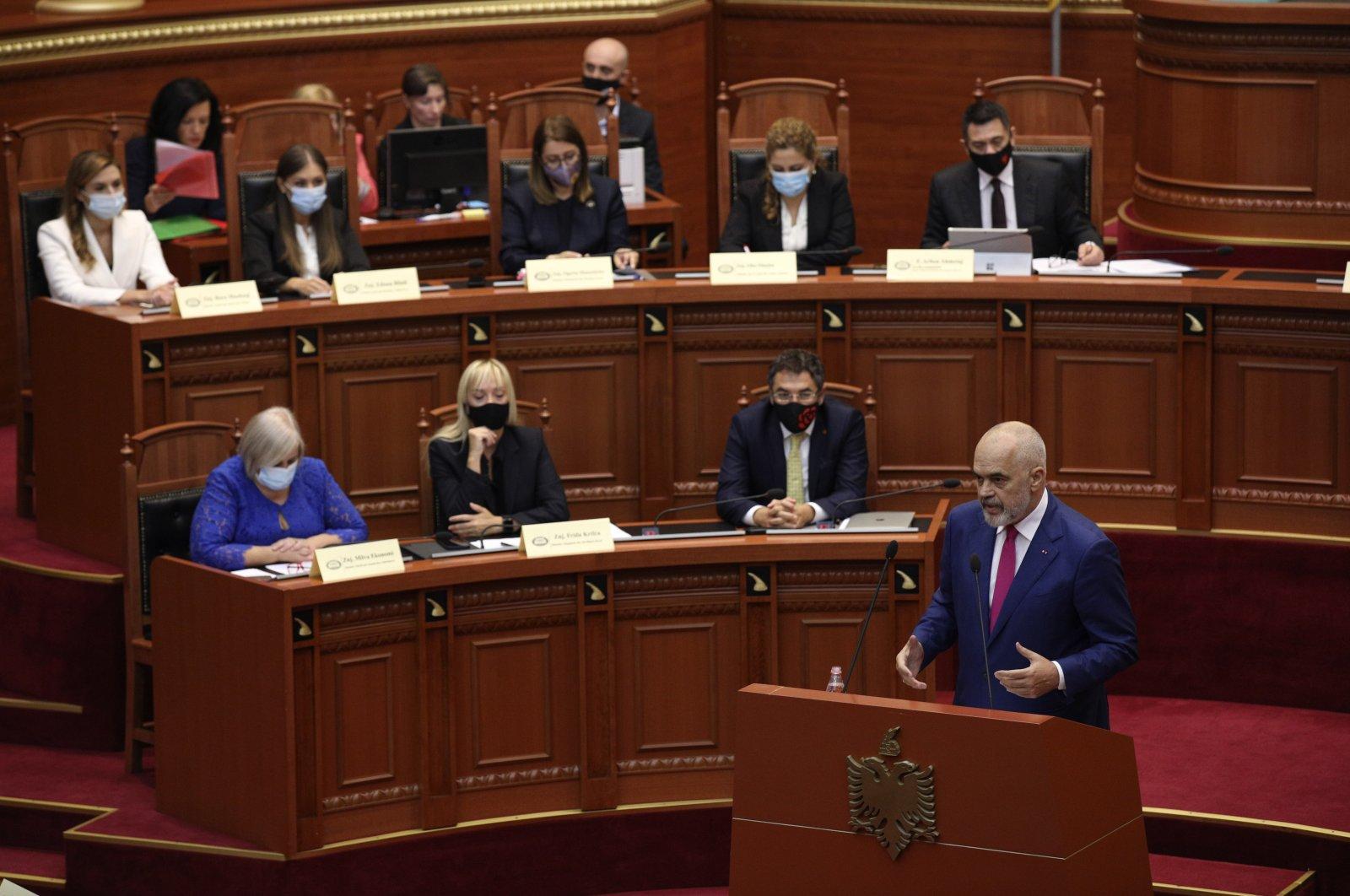 Albanian Prime Minister Edi Rama speaks during a debate at Parliament in Tirana, Albania, Sept. 16, 2021. (AP Photo)