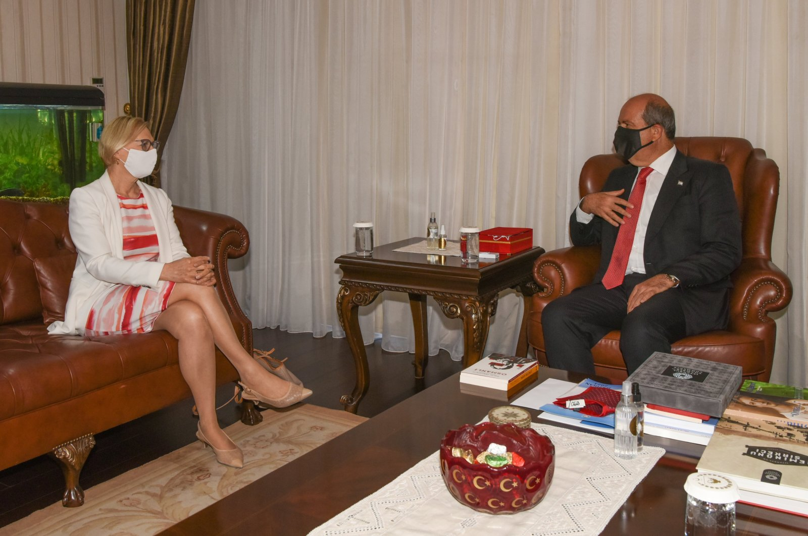 Turkish Cyprus' President Ersin Tatar (R) and Elizabeth Spehar, the outgoing head of the United Nations peacekeeping force on the island of Cyprus, meet in Lefkoşa (Nicosia), TRNC, Sept. 13, 2021. (AA Photo)
