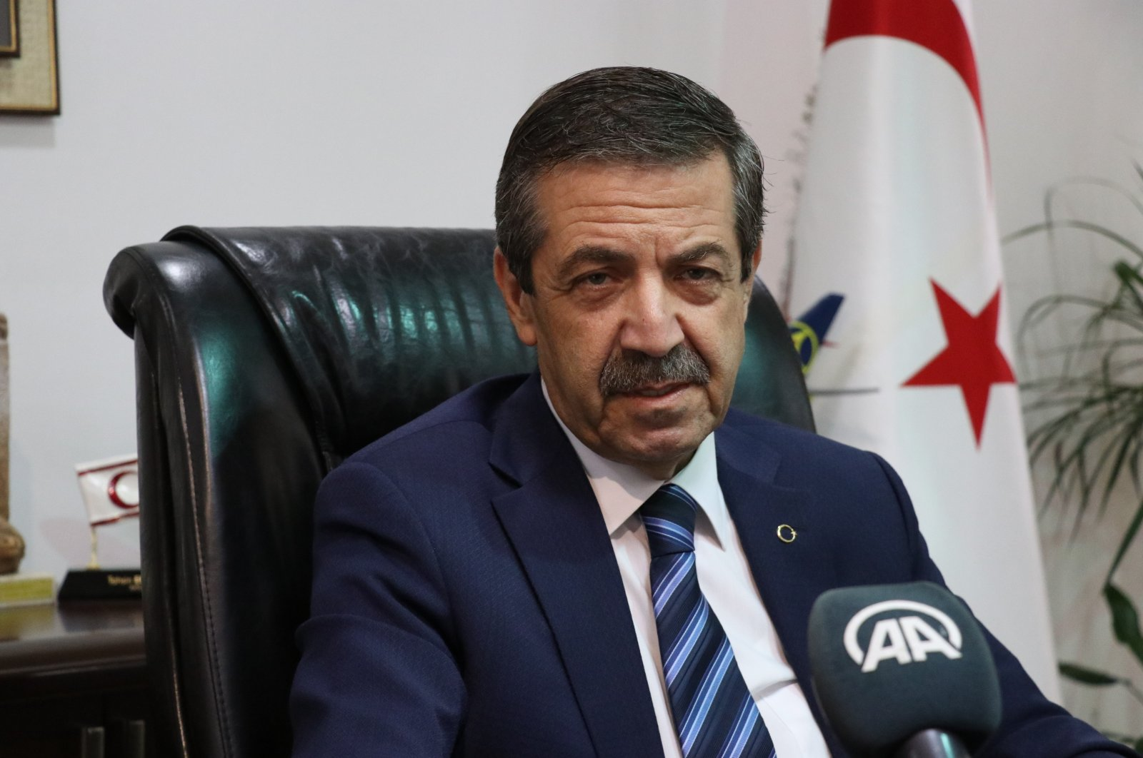 Turkish Republic of Northern Cyprus (TRNC) Foreign Minister Tahsin Ertuğruloğlu speaks during an interview with Anadolu Agency (AA), Sept. 17, 2021 (AA Photo)