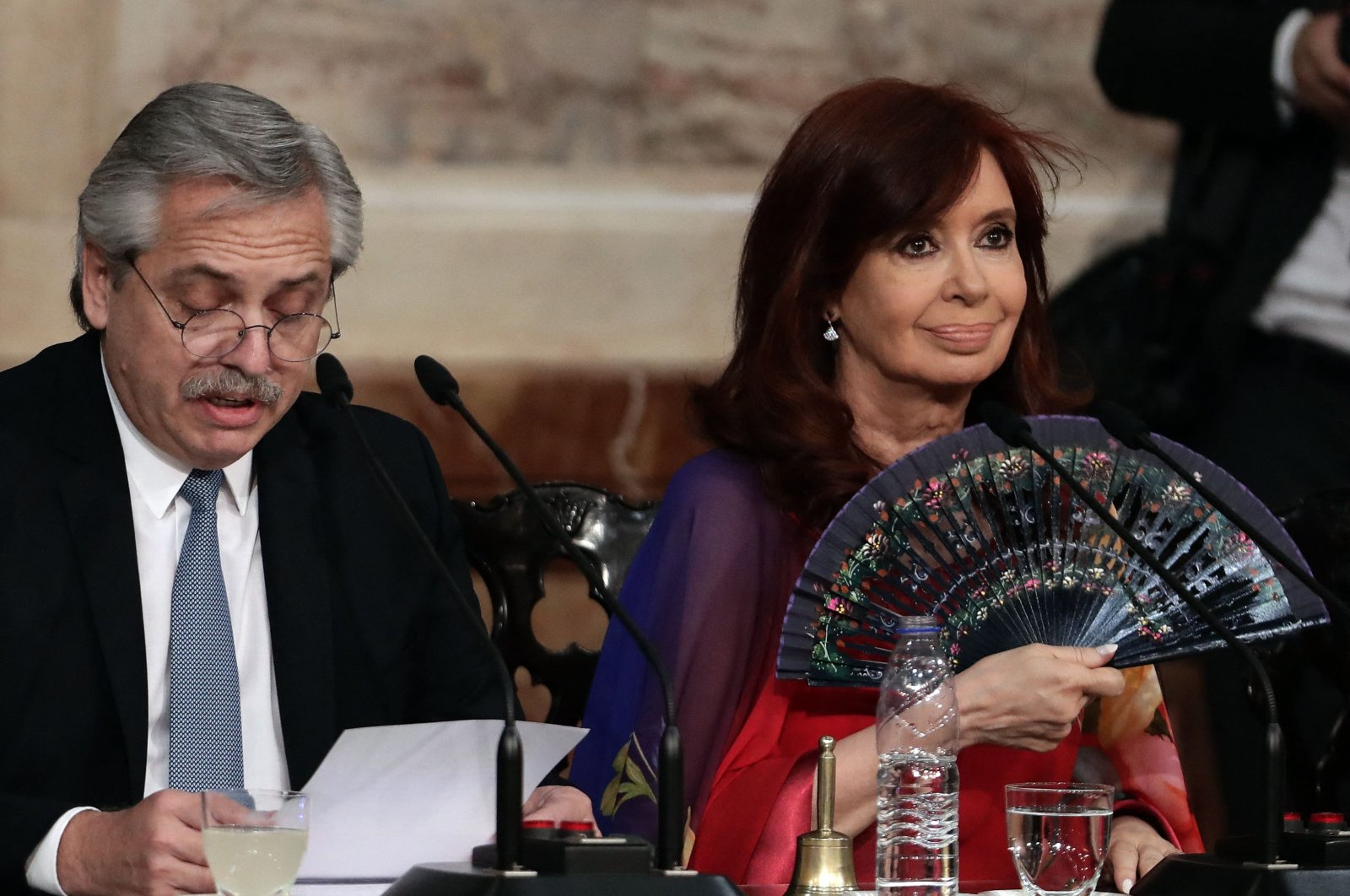 Argentine President Alberto Fernandez (L) delivers a speech, next to Vice President Cristina Fernandez de Kirchner, during the inauguration of the 138th period of ordinary sessions at the Congress in Buenos Aires, Argentina, March 1, 2020. (AFP Photo)