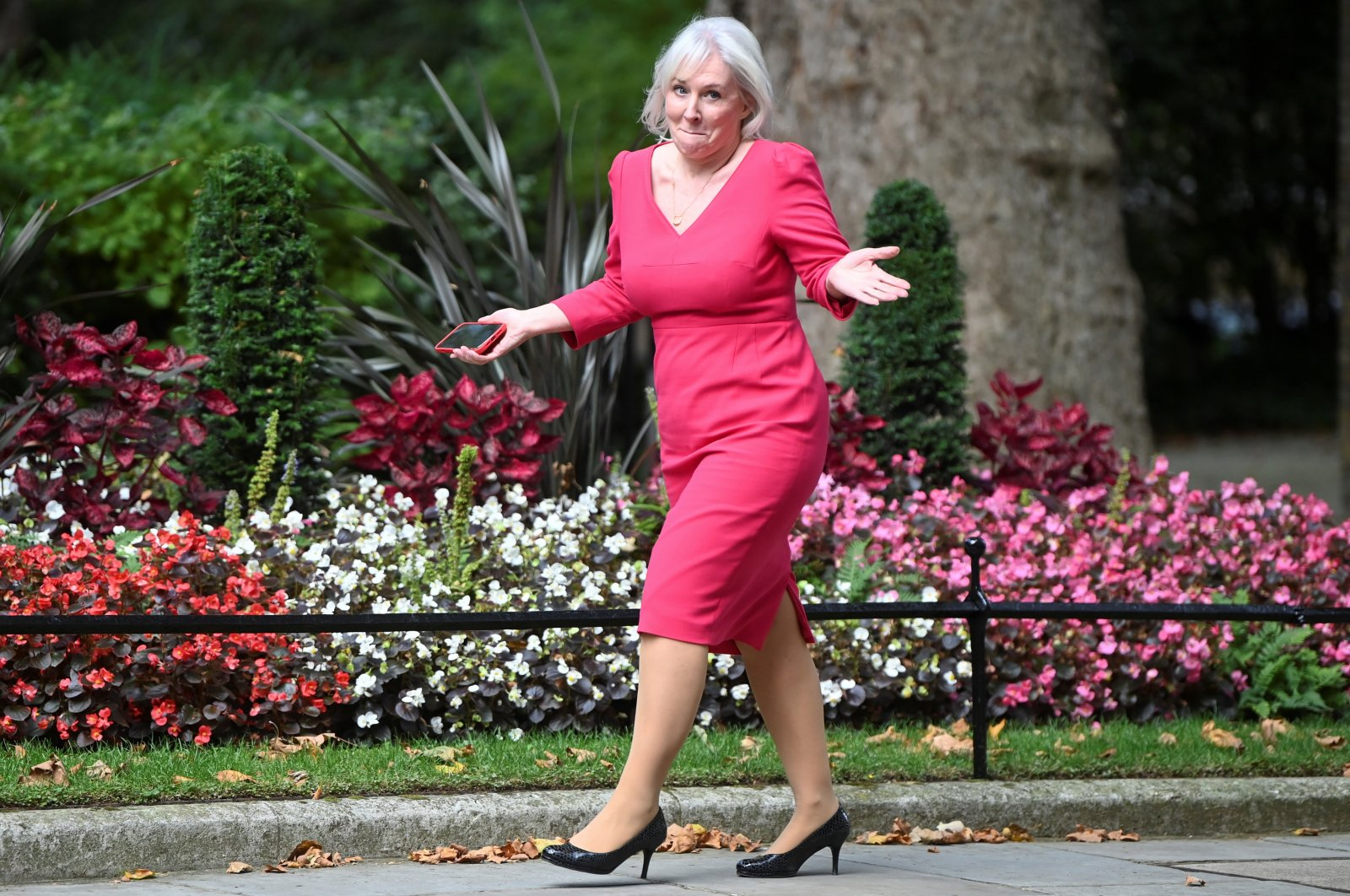 The U.K.'s Culture Secretary Nadine Dorries walks outside Downing Street in London, U.K., Sept. 15, 2021. (Reuters Photo)