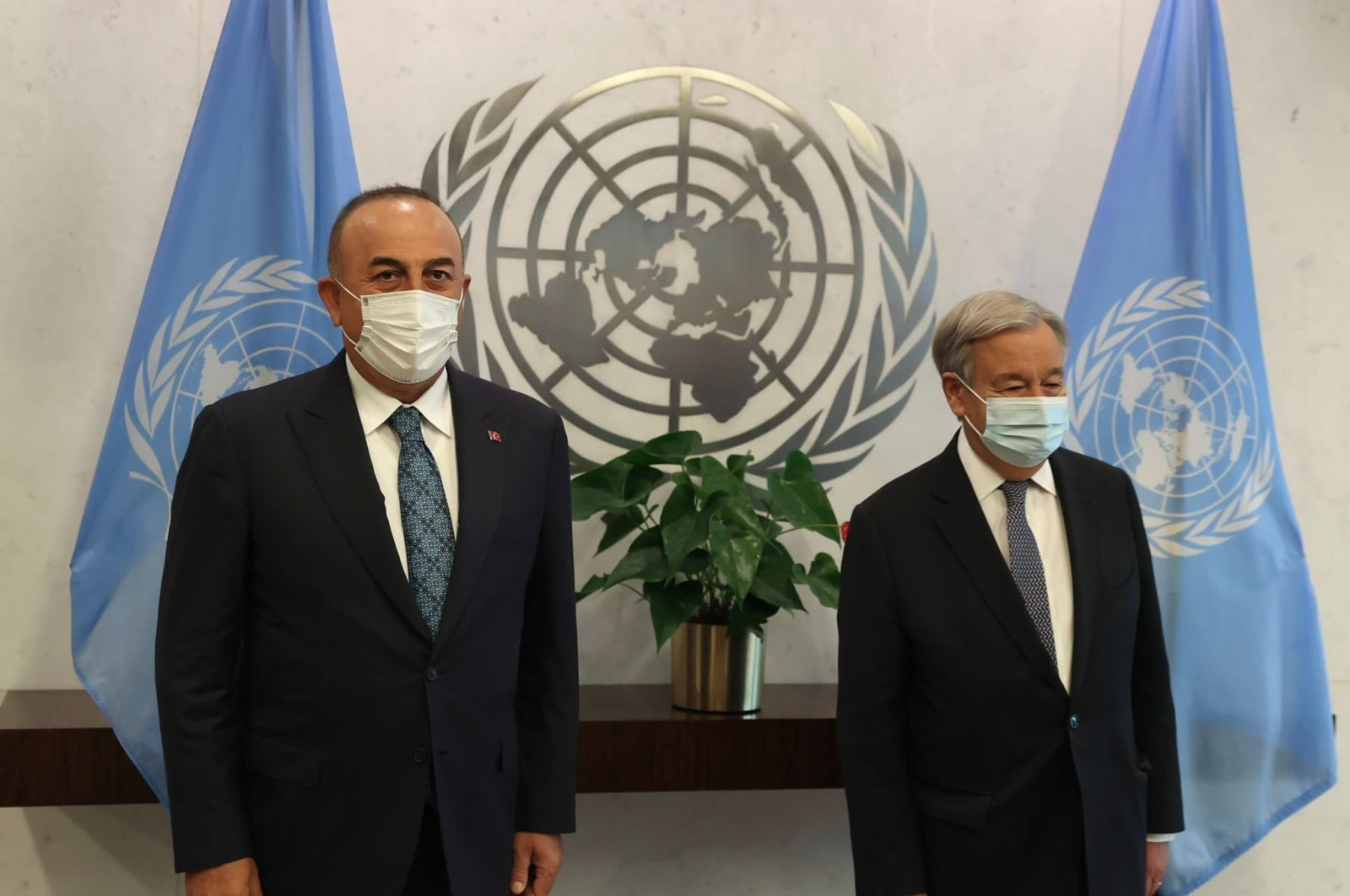 Foreign Minister Mevlüt Çavuşoğlu (L) and U.N. Secretary-General Antonio Guterres pose for a picture at the U.N. headquarters in New York City, New York, U.S., Sept. 17, 2021. (IHA Photo)
