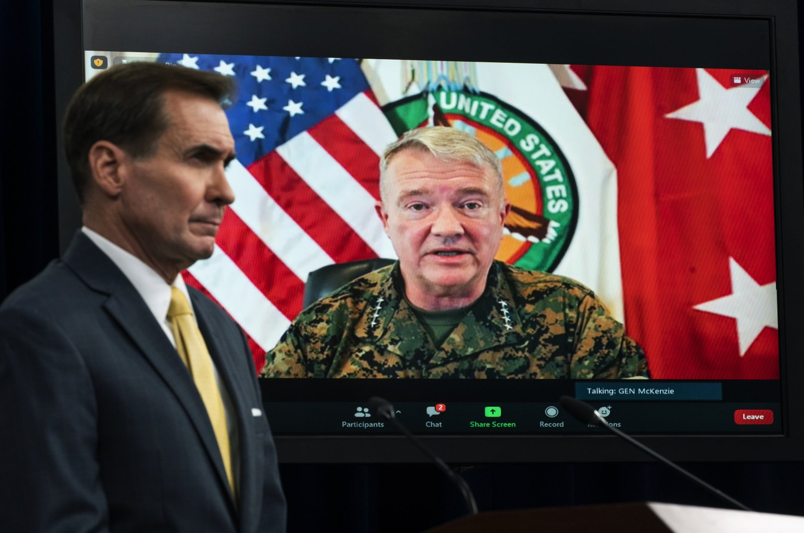 Gen. Frank McKenzie, Commander of U.S. Central Command, appears on screen as he speaks from MacDill Air Force Base, in Tampa, Florida, as he speaks about Afghanistan during a virtual briefing moderated by Pentagon spokesperson John Kirby at the Pentagon in Washington, U.S., Aug. 30, 2021. (AP Photo)
