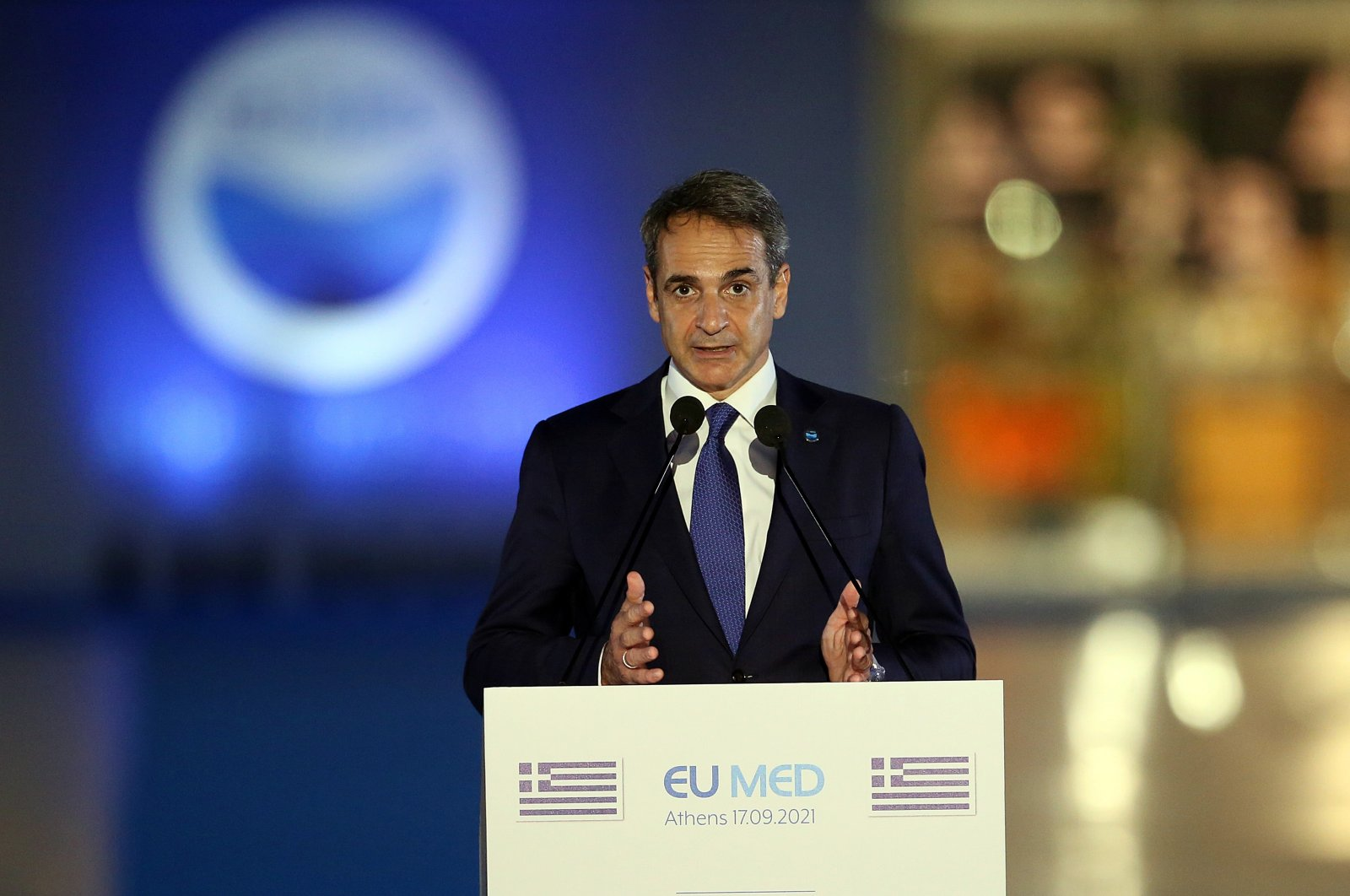 Greek Prime Minister Kyriakos Mitsotakis makes statements during the EUMed9 Summit, in Athens, Greece, Sept. 17, 2021. (EPA Photo)