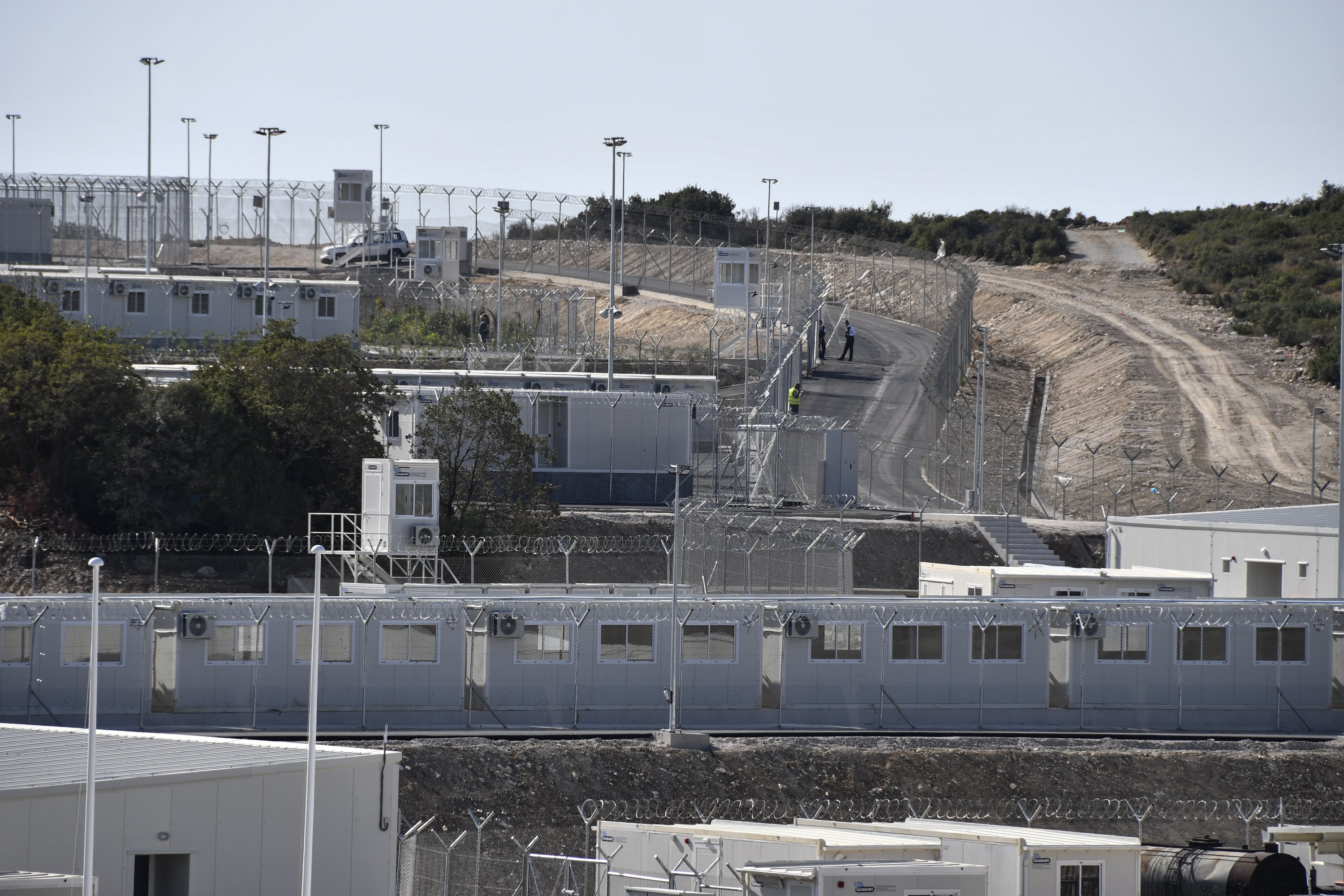 A view of the new multi-purpose reception and identification migrant center that was constructed near Vathy, on the eastern Aegean island of Samos, Greece, Sept. 18, 2021. (AP Photo)