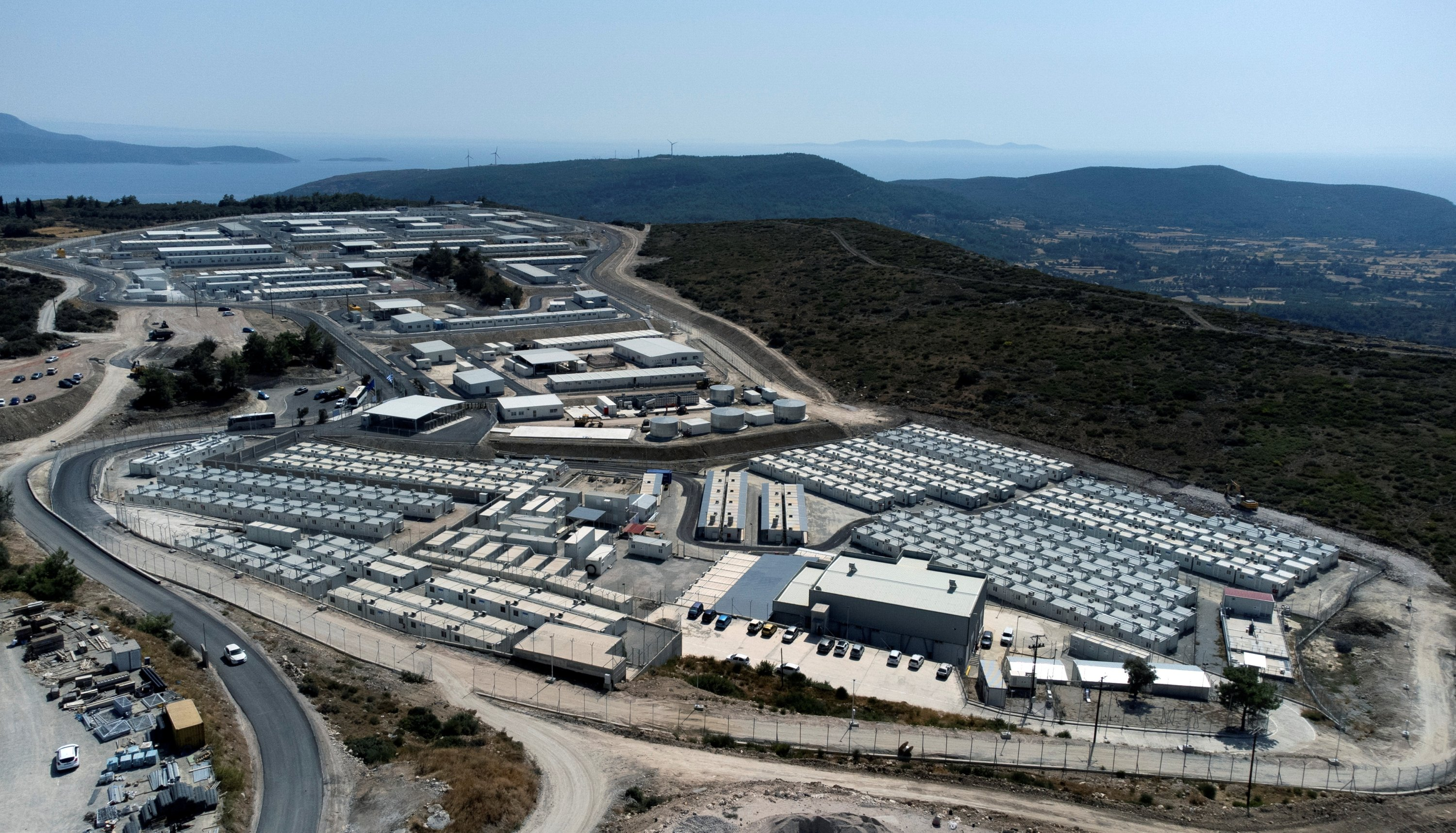 An aerial view of the new multi-purpose reception and identification migrant center that was constructed near Vathy, on the eastern Aegean island of Samos, Greece, Sept. 18, 2021. (Reuters Photo)