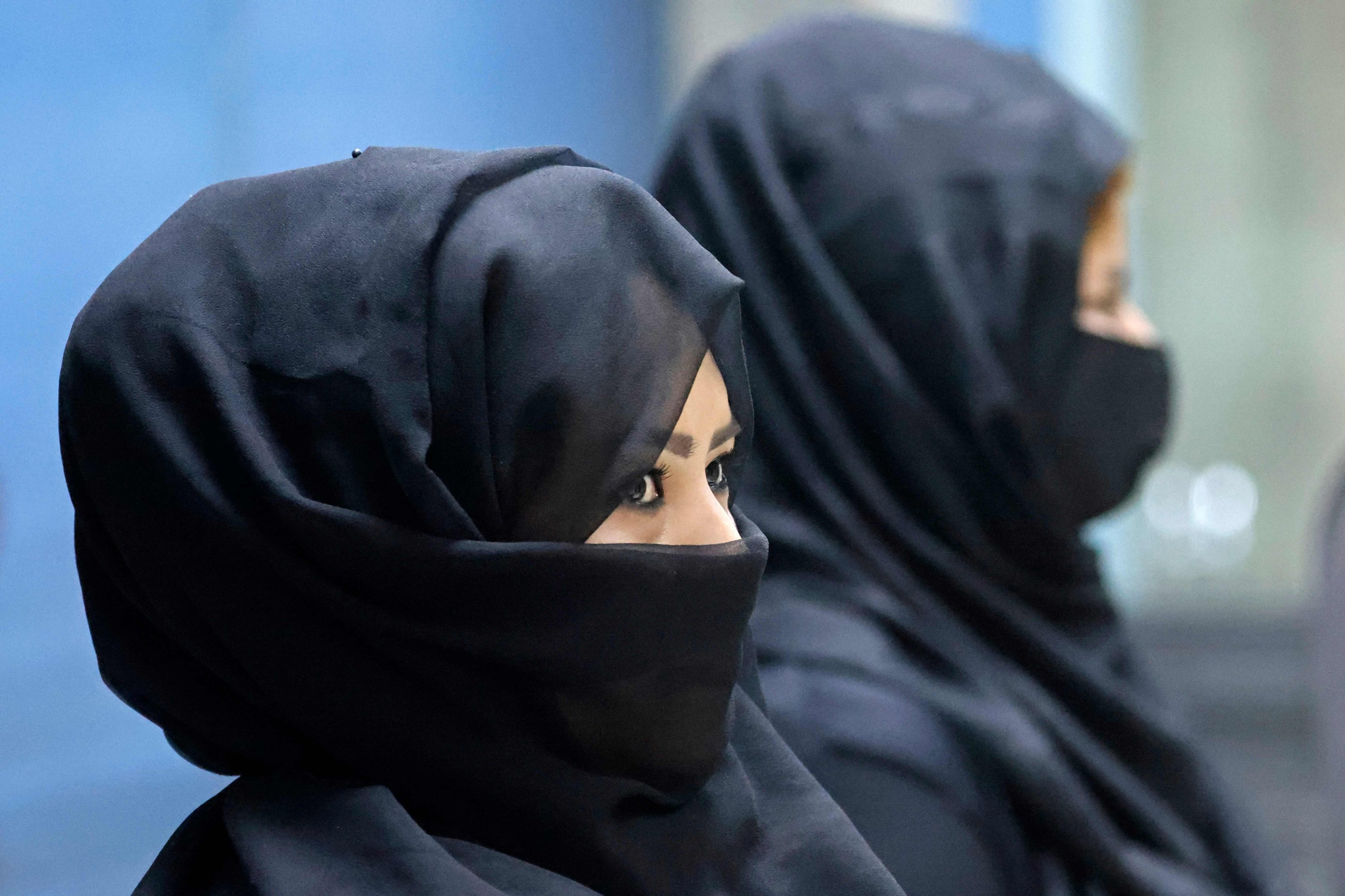 Female Afghan airport workers are pictured at a security checkpoint of the airport in Kabul, Afghanistan, Sept. 12, 2021. (Photo by Karim SAHIB via AFP)