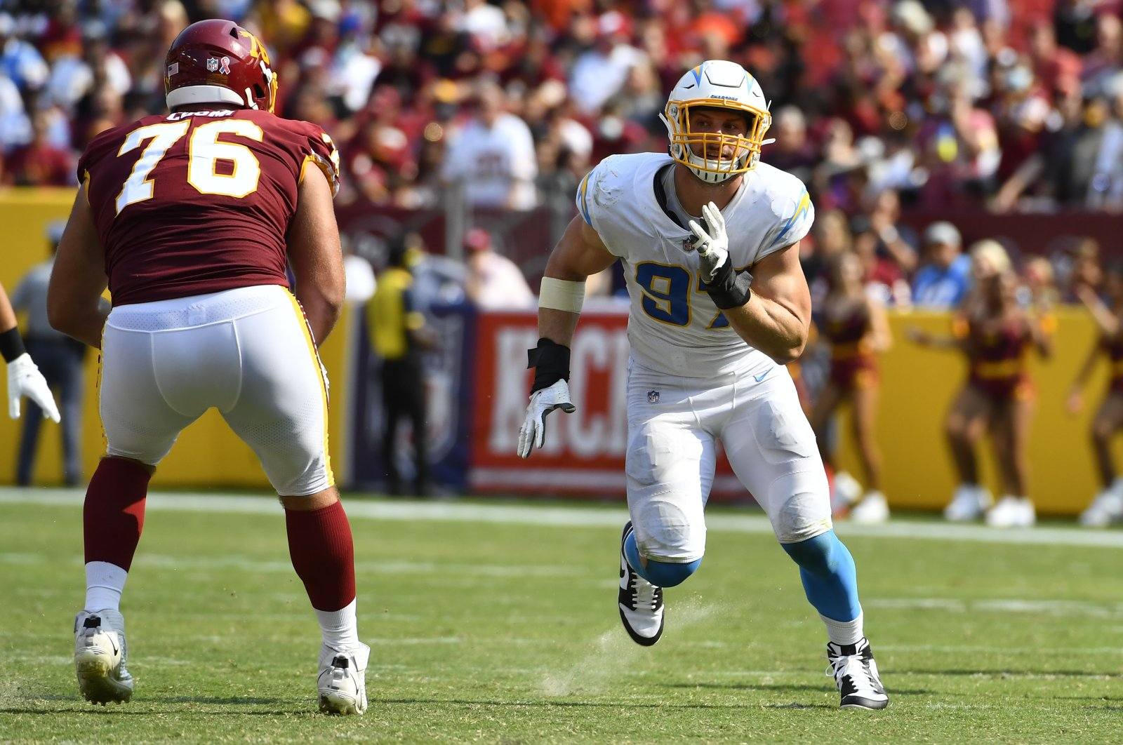 Los Angeles Chargers defensive end Joey Bosa (97) rushes the passer against the Washington Football Team during the second half at FedExField, Landover, Maryland, U.S, Sept. 12, 2021. (Brad Mills-USA TODAY Sports via REUTERS)