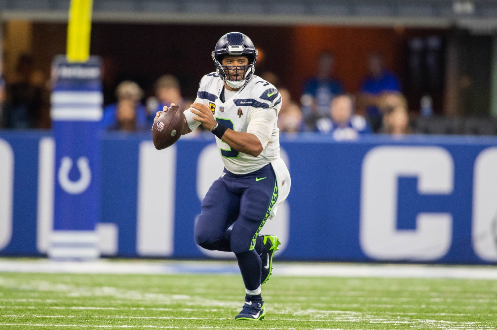 Seattle Seahawks quarterback Russell Wilson (3) looks to pass the ball in the second half against the Indianapolis Colts at Lucas Oil Stadium, Indianapolis, Indiana, U.S., Sept. 12, 2021. (Trevor Ruszkowski-USA TODAY Sports via REUTERS)