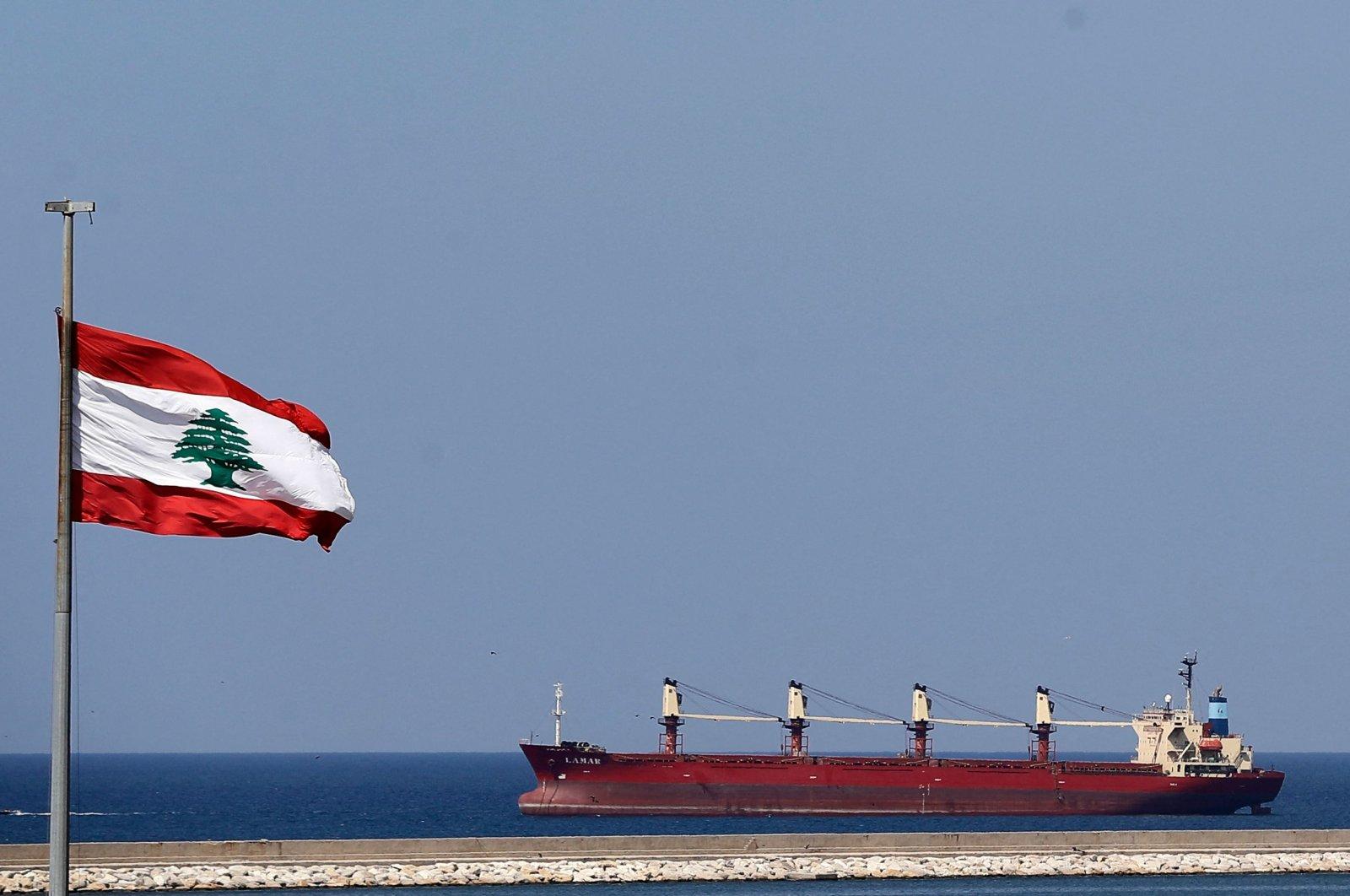 Bulk Carrier LAMAR is seen off the coast of Lebanon's capital Beirut, Sept. 14, 2021. (AFP Photo)
