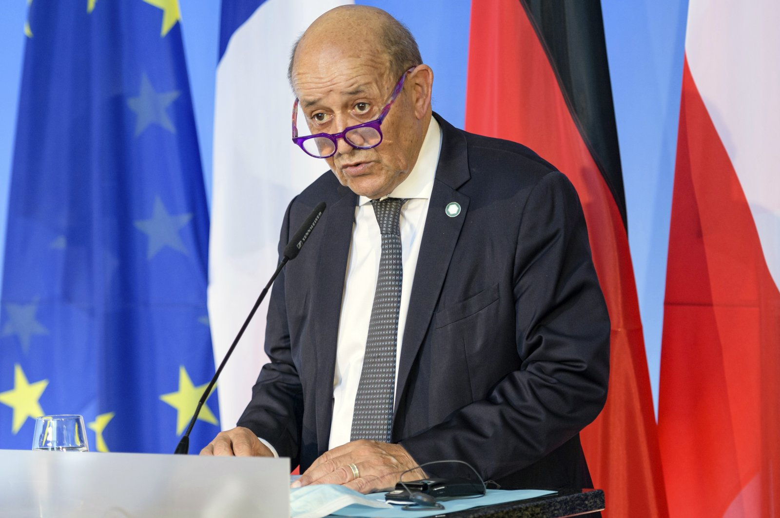 French Foreign Minister Jean-Yves Le Drian speaks in Weimar, Germany, Sept. 10, 2021. (Jens Schlueter/Pool Photo via AP)