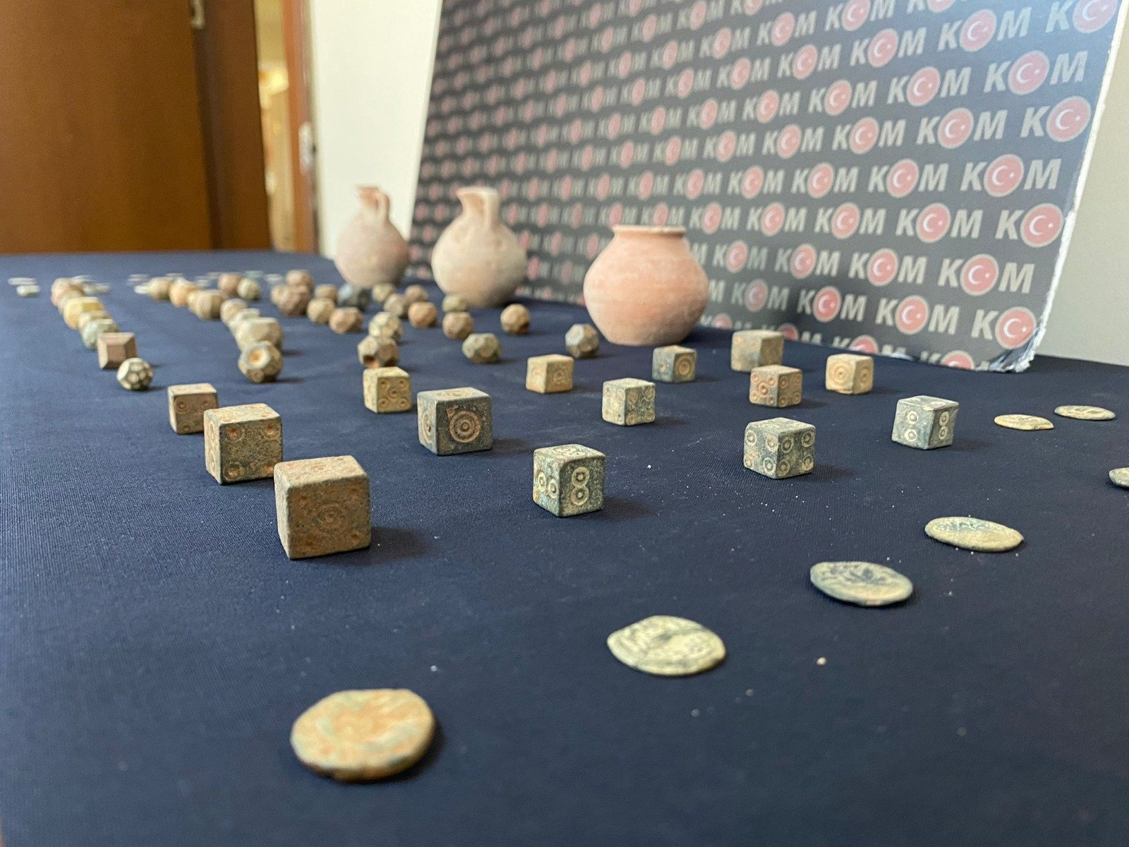 Historical artifacts seized by Istanbul police are on display on Sept. 19, 2021 (AA Photo)