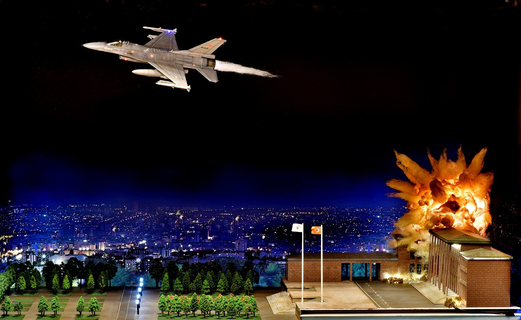 A diorama of the bombing of the Grand National Assembly of Turkey from Hisart Live History Museum. (Courtesy of Hisart Live History Museum)