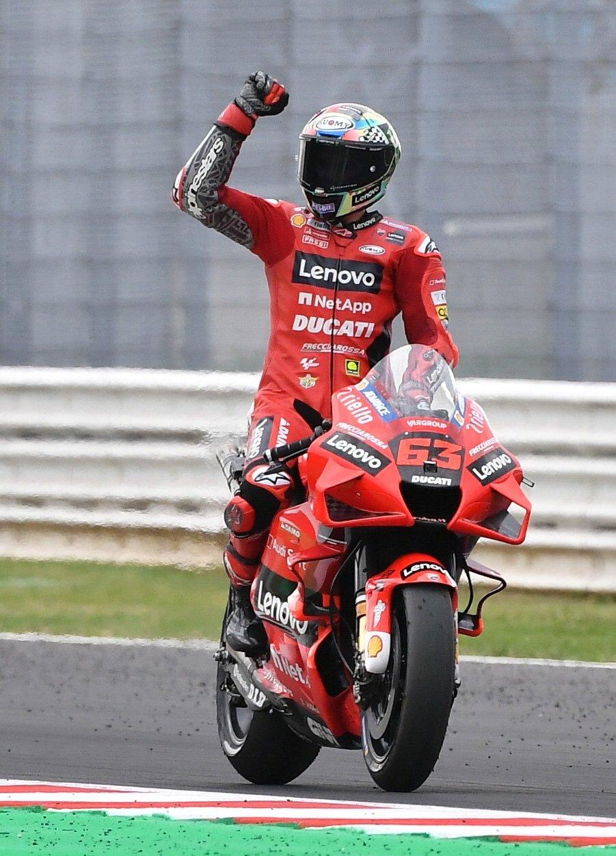 Ducati's Francesco Bagnaia celebrates winning the race, Misano, Italy, Sept. 19, 2021. (Reuters Photo)
