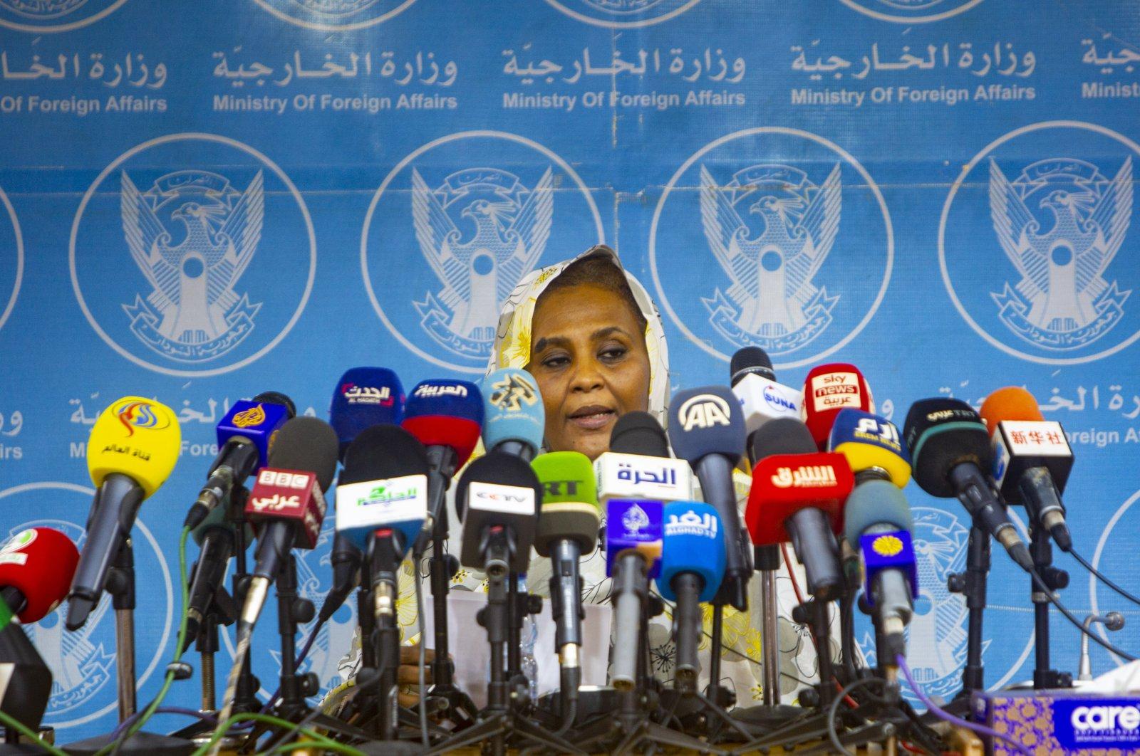 Sudanese Foreign Minister Mariam Al-Sadiq Al-Mahdi speaks at a news conference in Khartoum, Sudan, Sept. 18, 2021. (AA Photo)