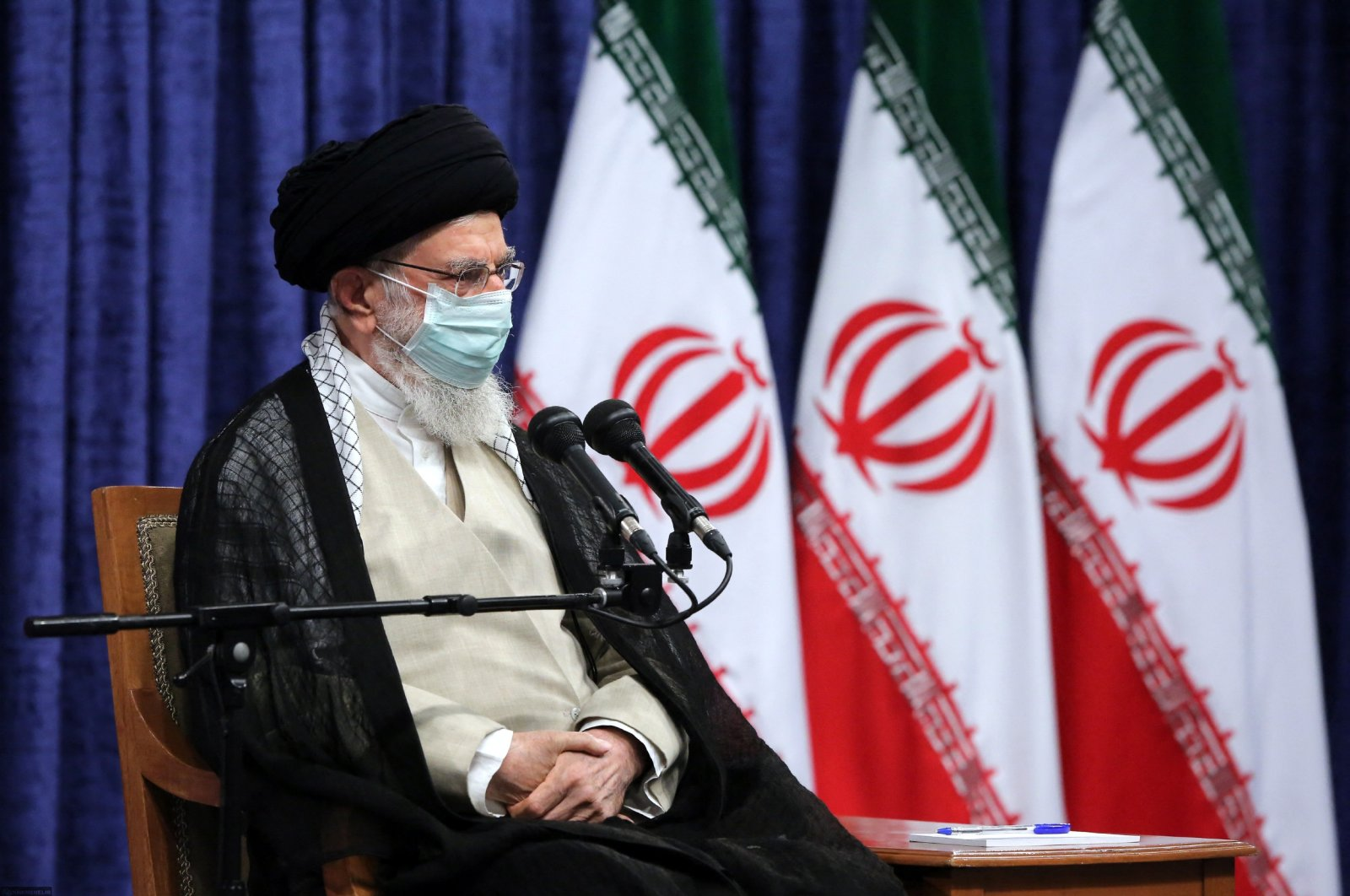 Iran's Supreme Leader Ayatollah Ali Khamenei at a meeting with the country's Olympic and Paralympic teams in Tehran, Iran, Sept. 18, 2021. (AFP Photo)