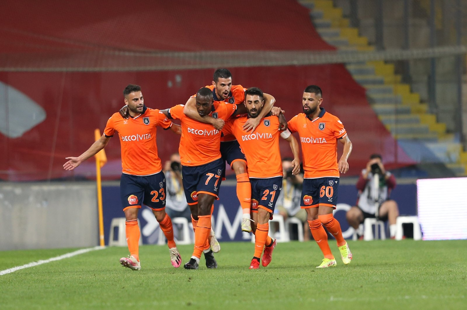 Medipol Başakşehir players celebrate after scoring a goal against Fenerbahçe at the Basakşehir Fatih Terim Stadium in Istanbul, Turkey, Sept. 19, 2021. (AA Photo)