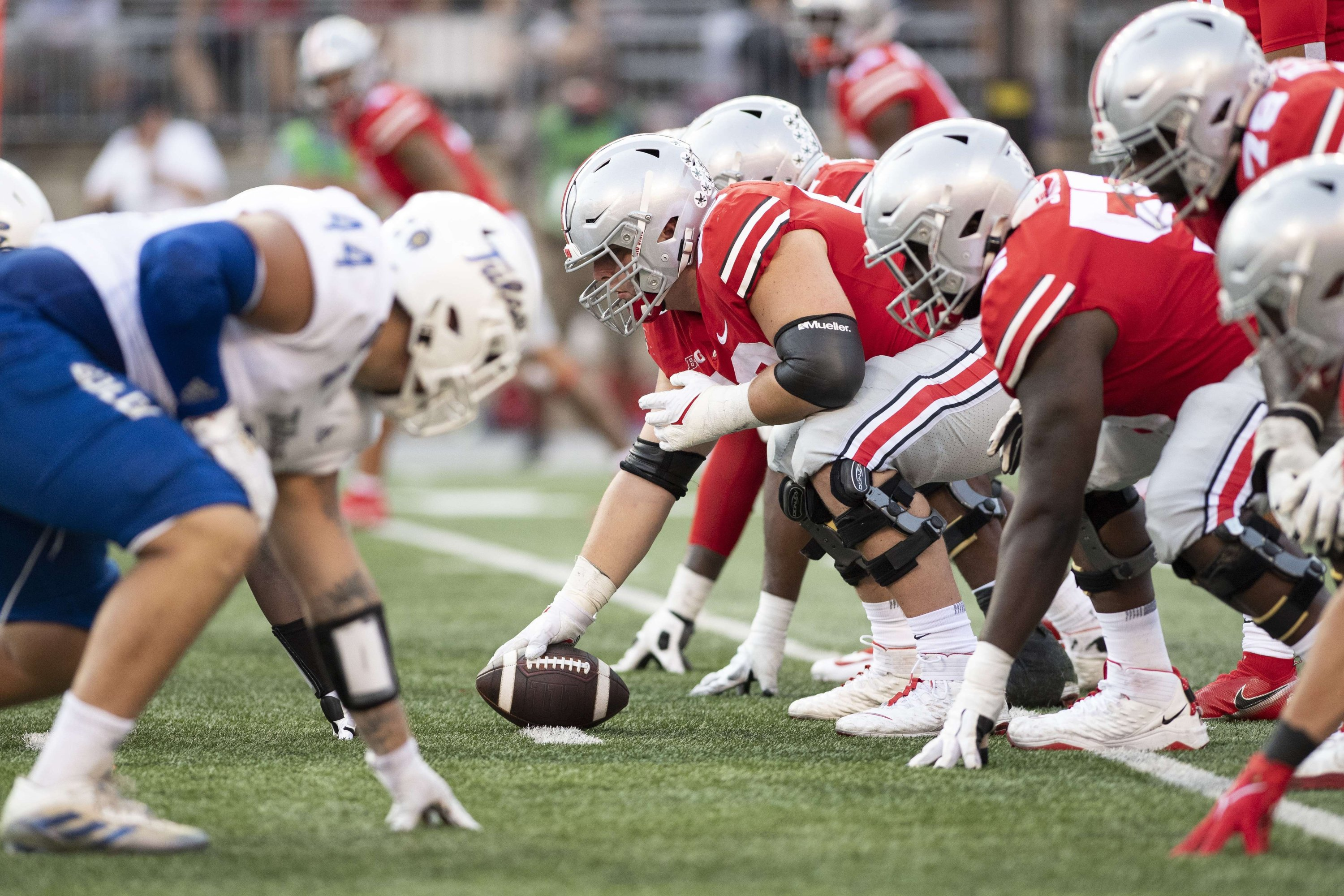 The Ohio State Buckeyes hike the ball at the line of scrimmage against the Tulsa Golden Hurricane during the third quarter at Ohio Stadium, Columbus, Ohio, U.S., Sept. 18, 2021. (AFP Photo)