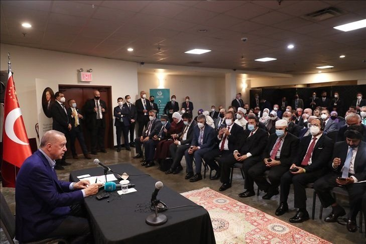 President Recep Tayyip Erdoğan addresses Turkish citizens and representatives of the Muslim community in New York, U.S., Sept. 20, 2021. (Courtesy of the Presidency for Turks Abroad and Related Communities)