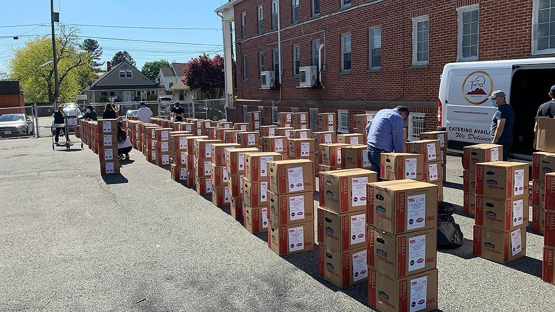 Boxes of food and hygiene kits delivered by the YTB, in New Jersey, U.S., May 18, 2020. (COURTESY OF YTB)