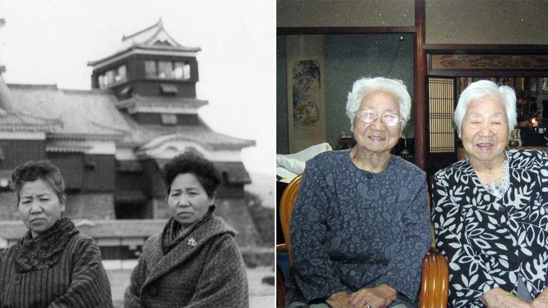 Sisters Umeno Sumiyama (L) and Koume Kodama can be seen in this combination of images from the Guinness World Records' website. (Guinness World Records)