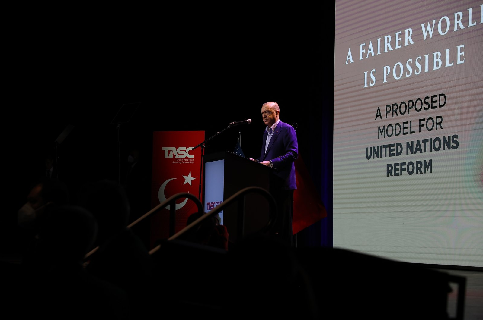 President Recep Tayyip Erdoğan speaks at the conference organized by the Turkish American National Steering Committee (TASC) in New York City, U.S., Sept. 19, 2021. (AA Photo)