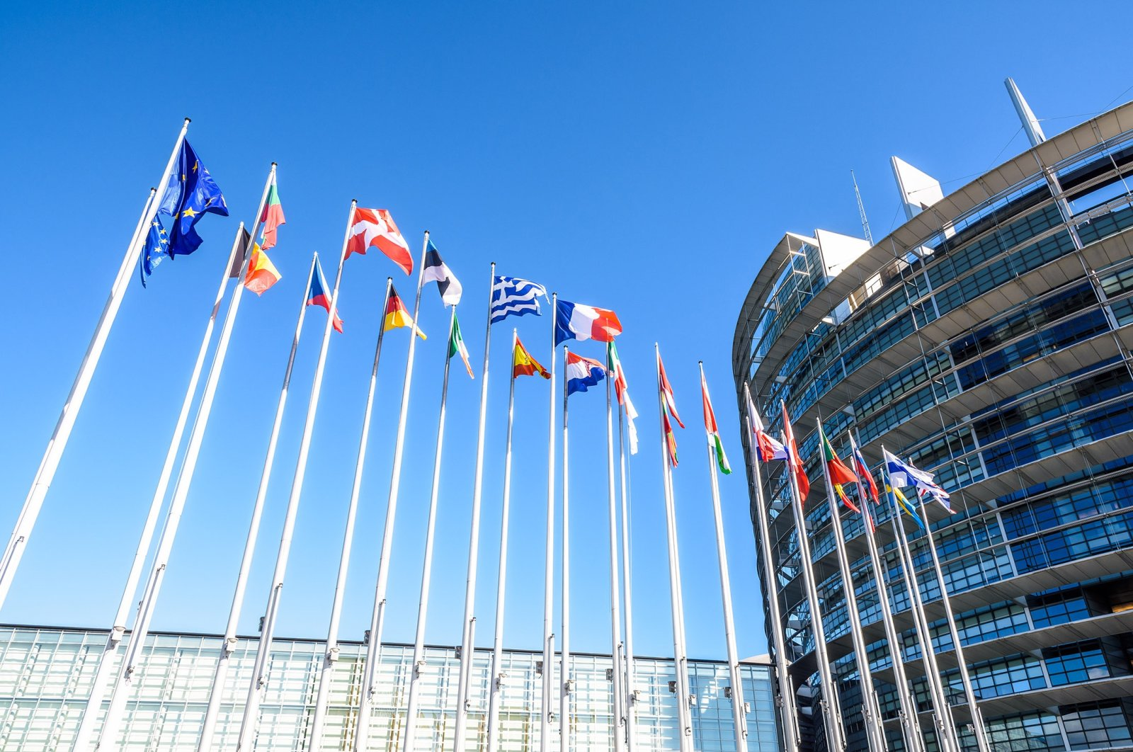 Flags of the member states of the European Union fly in front of the entrance of the Louise Weiss building, the official seat of the European Parliament in Strasbourg, France, Sept. 13, 2019. (Shutterstock Photo)