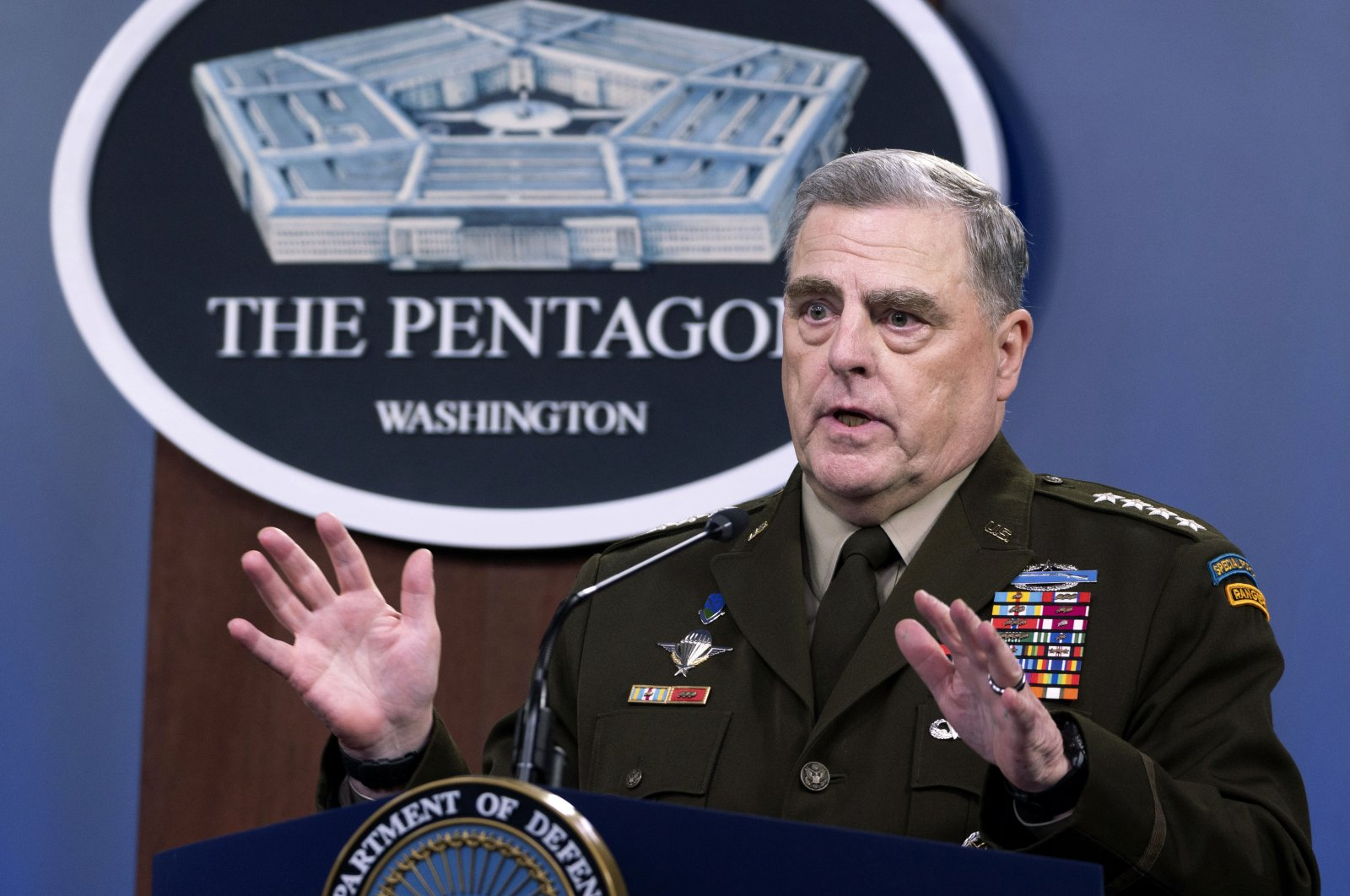 Joint Chiefs Chairman Gen. Mark Milley speaks at a press briefing at the Pentagon in Washington, July 21, 2021. (AP Photo)