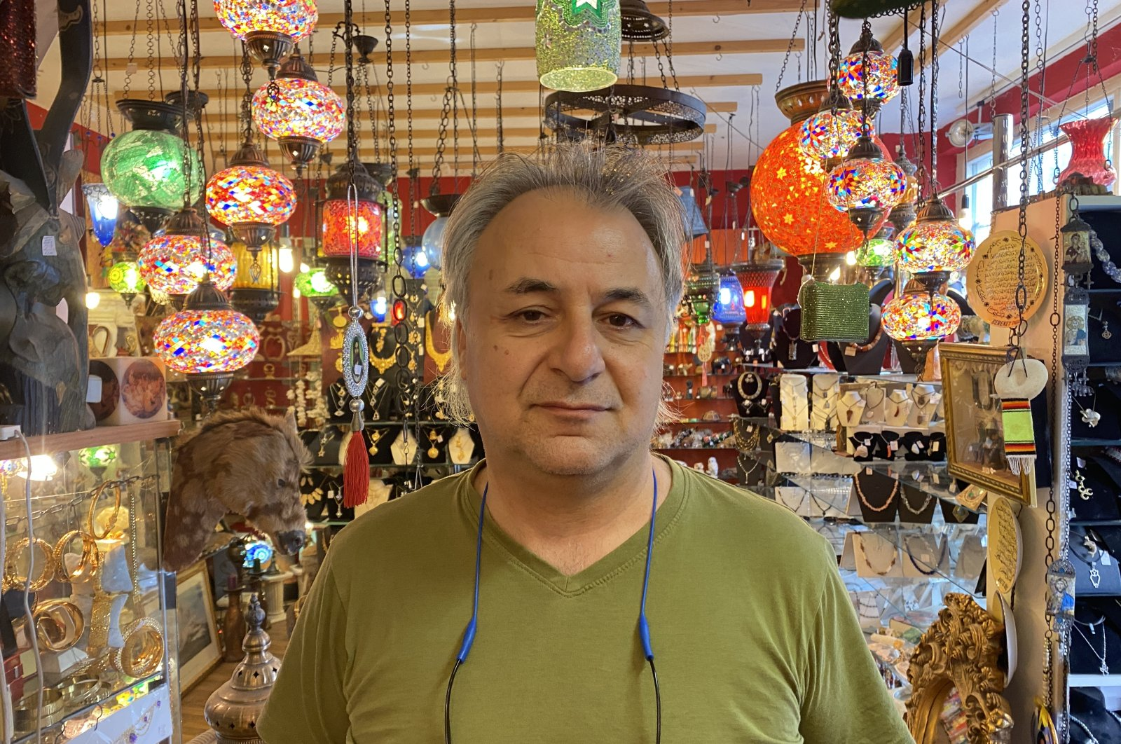 Turkish-German citizen Suha Ardaniç owns a gift shop in the Weidengasse district of Cologne, Germany, Sept. 20, 2021. (AA Photo)