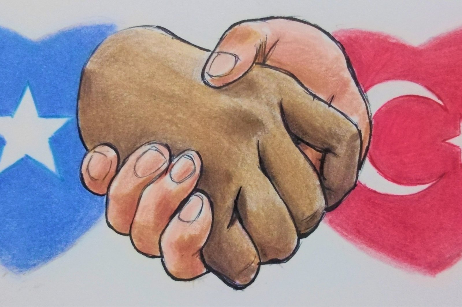 An illustration by Erhan Yalvaç shows two hands clasped in a handshake in front of the flags of Turkey and Somalia.