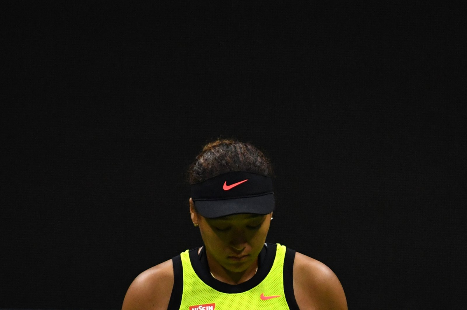 Japan's Naomi Osaka reacts during her 2021 U.S. Open Tennis tournament women's singles third round match against Canada's Leylah Fernandez at the USTA Billie Jean King National Tennis Center in New York, U.S., Sept. 3, 2021. (Photo by Ed JONES via AFP)