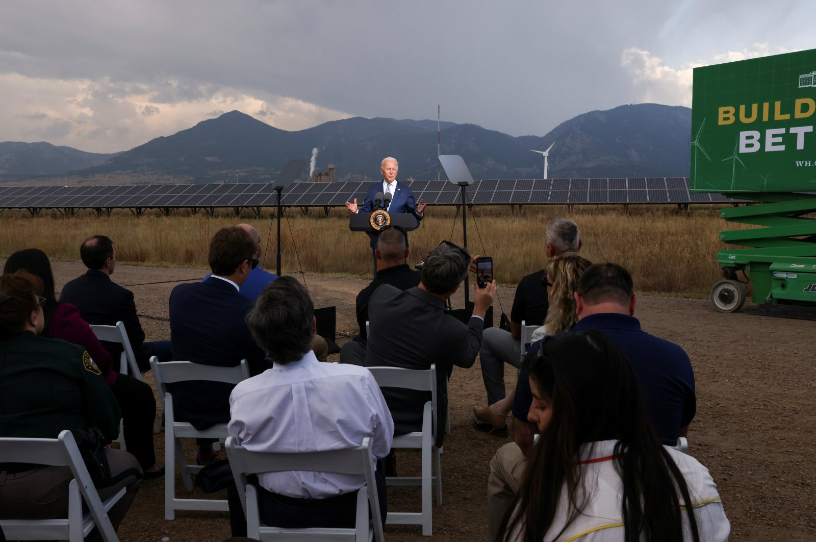 U.S. President Joe Biden makes remarks to promote his infrastructure spending proposals during a visit to the Flatirons Campus Laboratories and Offices of the National Renewable Energy Laboratory (NREL), in Arvada, Colorado, U.S. Sept. 14, 2021. (Reuters Photo)
