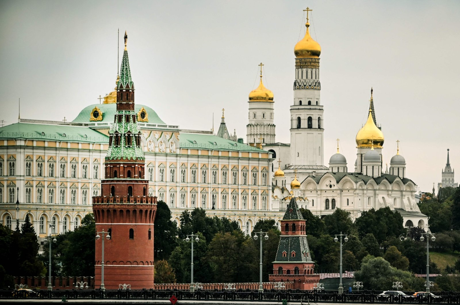 A view of the Kremlin during the last day of the three-day parliamentary and local elections in Moscow, Russia, Sept. 19, 2021. (AFP Photo)