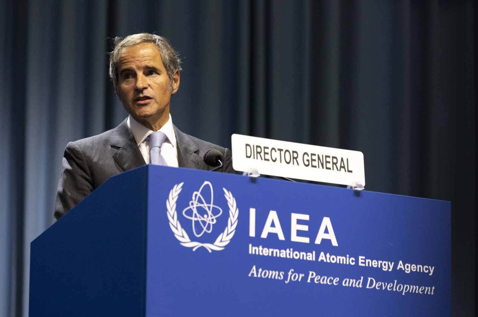 Director-General of the International Atomic Energy Agency, IAEA, Rafael Mariano Grossi from Argentina, talks on stage at the International Atomic Energy's (IAEA) General Conference about nuclear verification in Iran in Vienna, Austria, Sept. 20, 2021. (AP Photo)