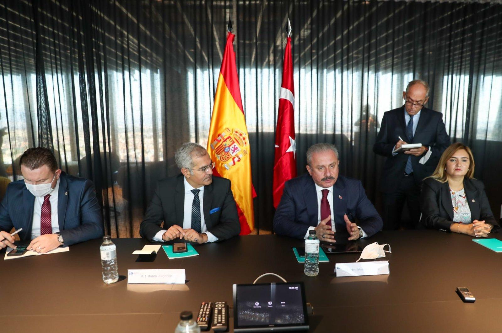 Parliament Speaker Mustafa Şentop visits the Global International Relations Center in Madrid, Spain, Sept. 20, 2021. (AA Photo)