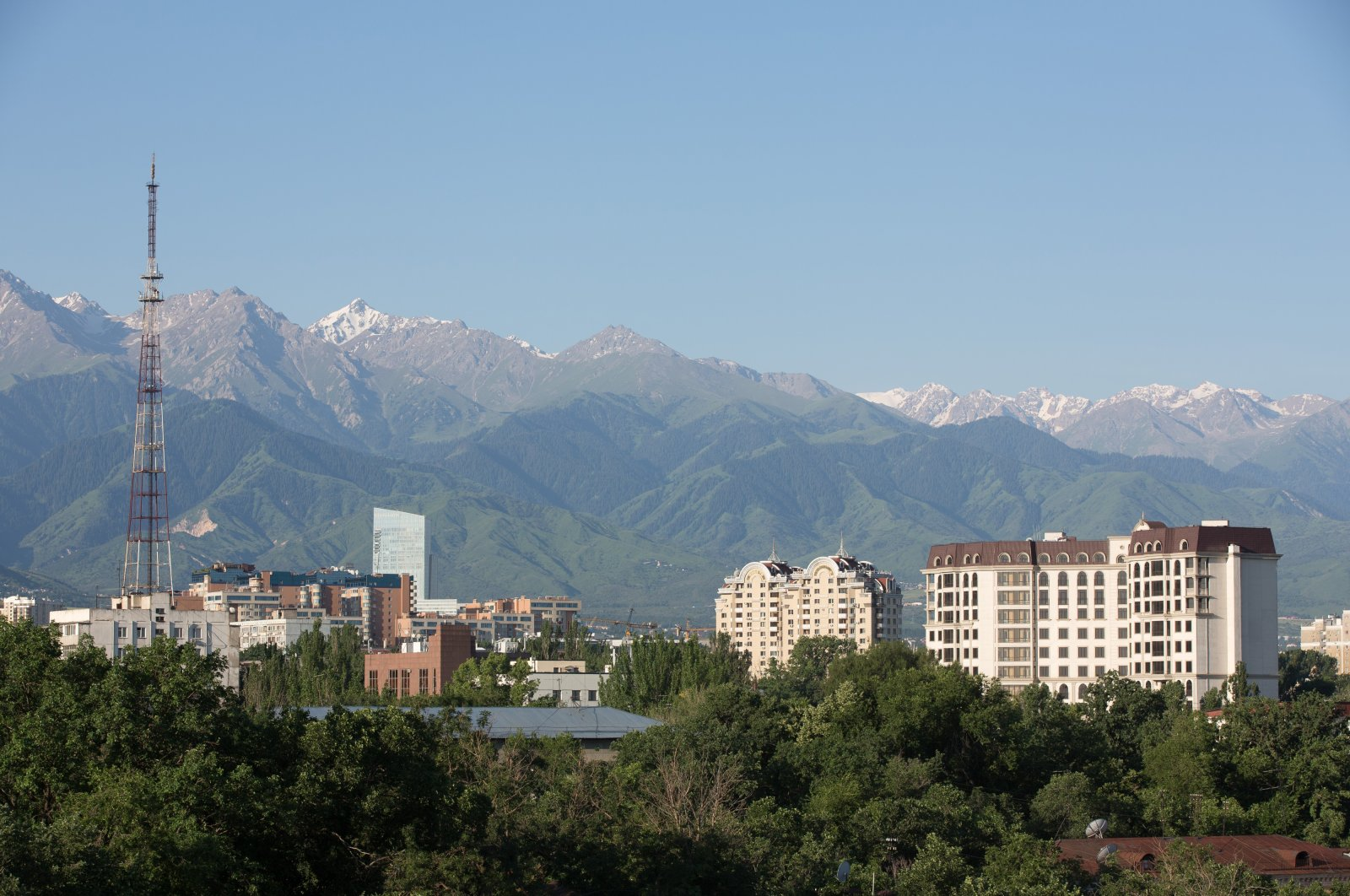 Residential apartment blocks sit on the city skyline in Almaty, Kazakhstan, June 23, 2015. (Getty Images)
