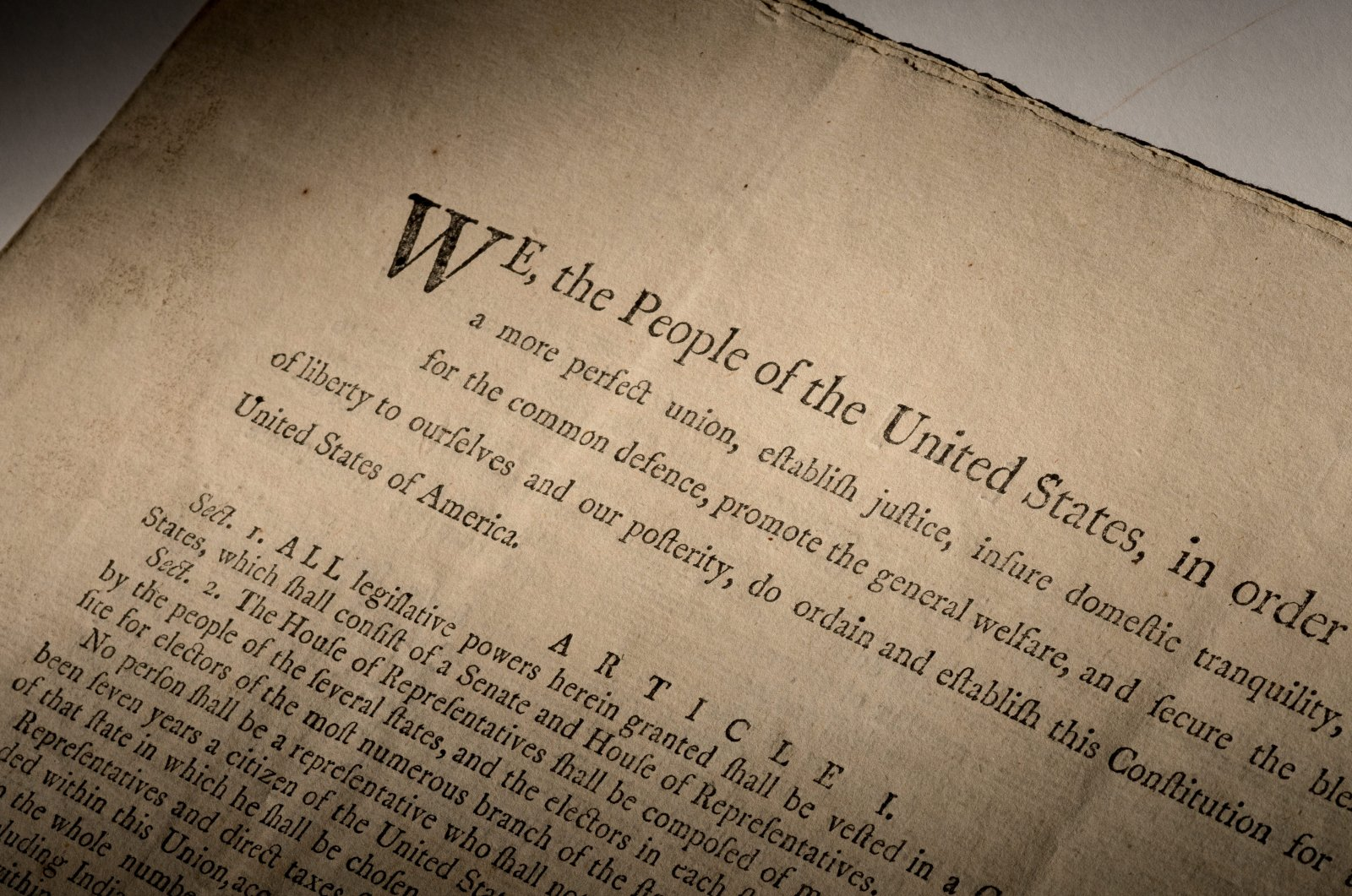 An extremely rare official first-edition printed copy of the U.S. Constitution, which will be auctioned off in mid-November 2021 by Sotheby's in New York, is seen in this handout image provided by Sotheby's. (Reuters pHOTO)
