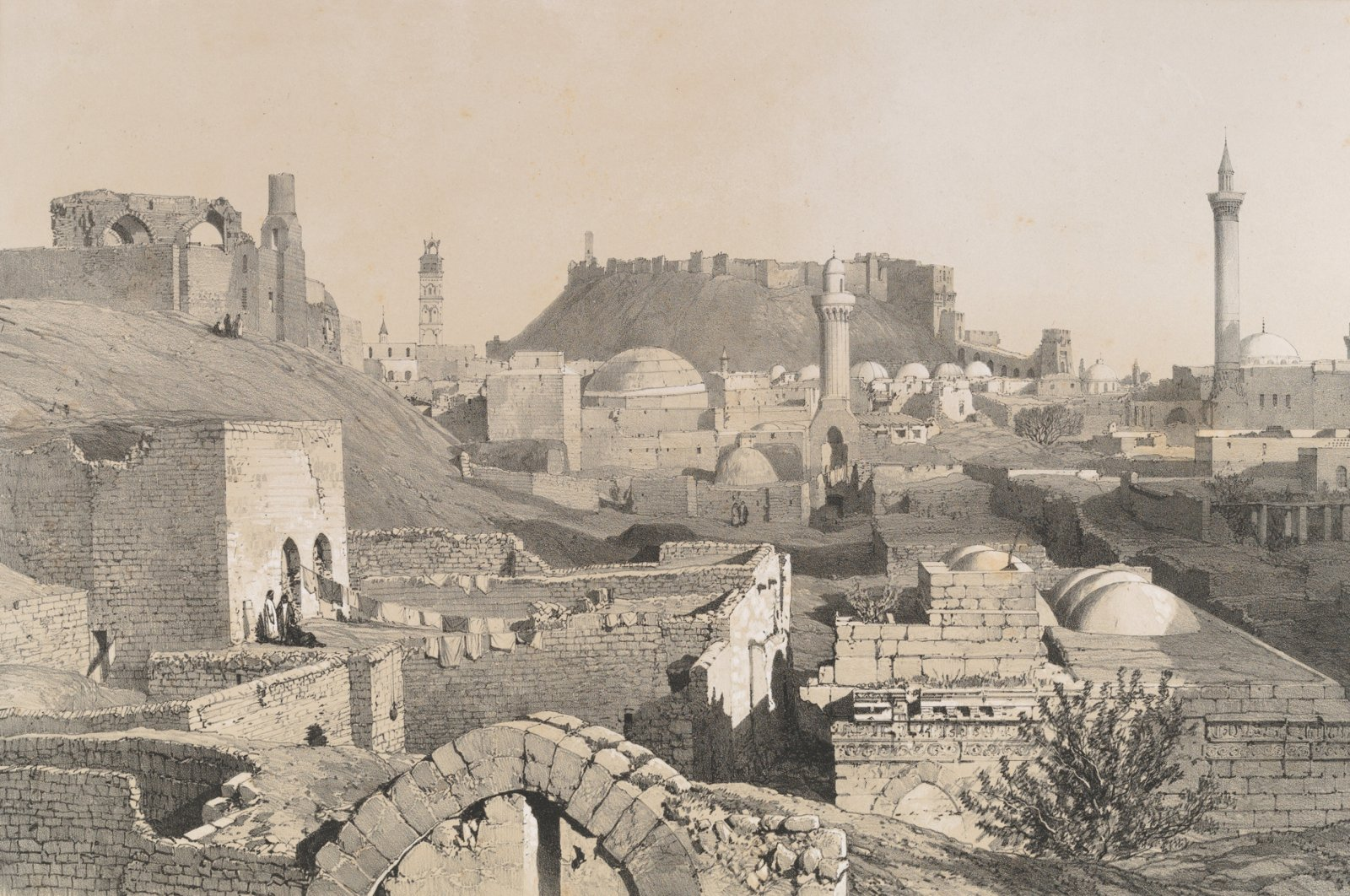 A lithograph by artist Joseph Philibert Girault De Prangey shows Aleppo in 1843. (Getty Images)