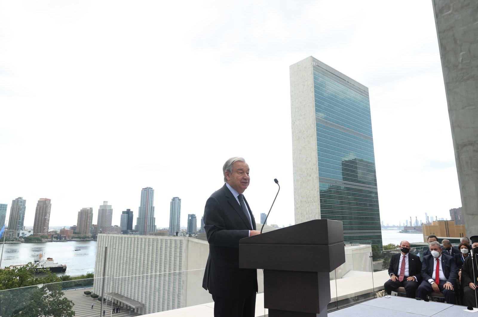 U.N. Secretary-General Antonio Guterres speaks during the opening ceremony of the new Turkish House (Türkevi) in New York City, New York, U.S., on Sept. 20, 2021. (AA Photo)