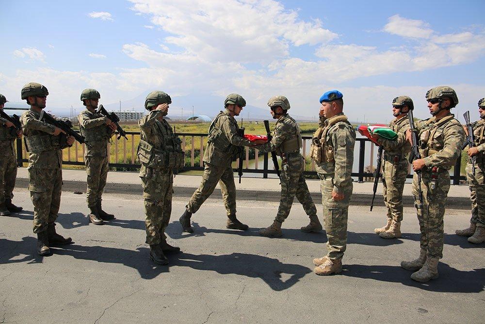 Turkish and Azerbaijani soldiers take part in a joint military exercise in the Nakhchivan Autonomous Region, Azerbaijan, Monday, Sept. 20, 2021. (AA Photo)