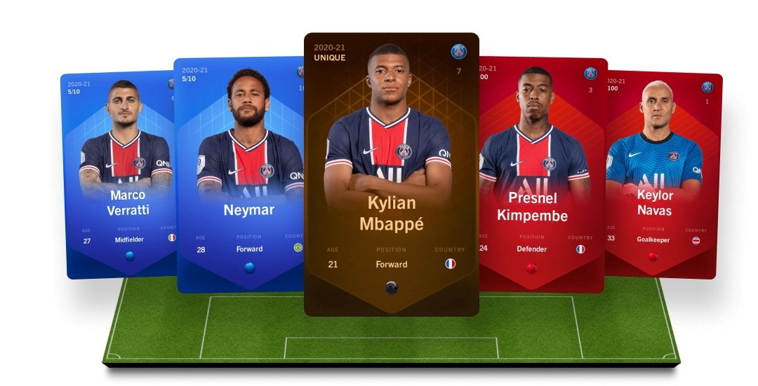 This handout illustration shows digital collectible cards representing football players in the online fantasy football game Sorare, Sept. 20, 2021. (Reuters Photo)