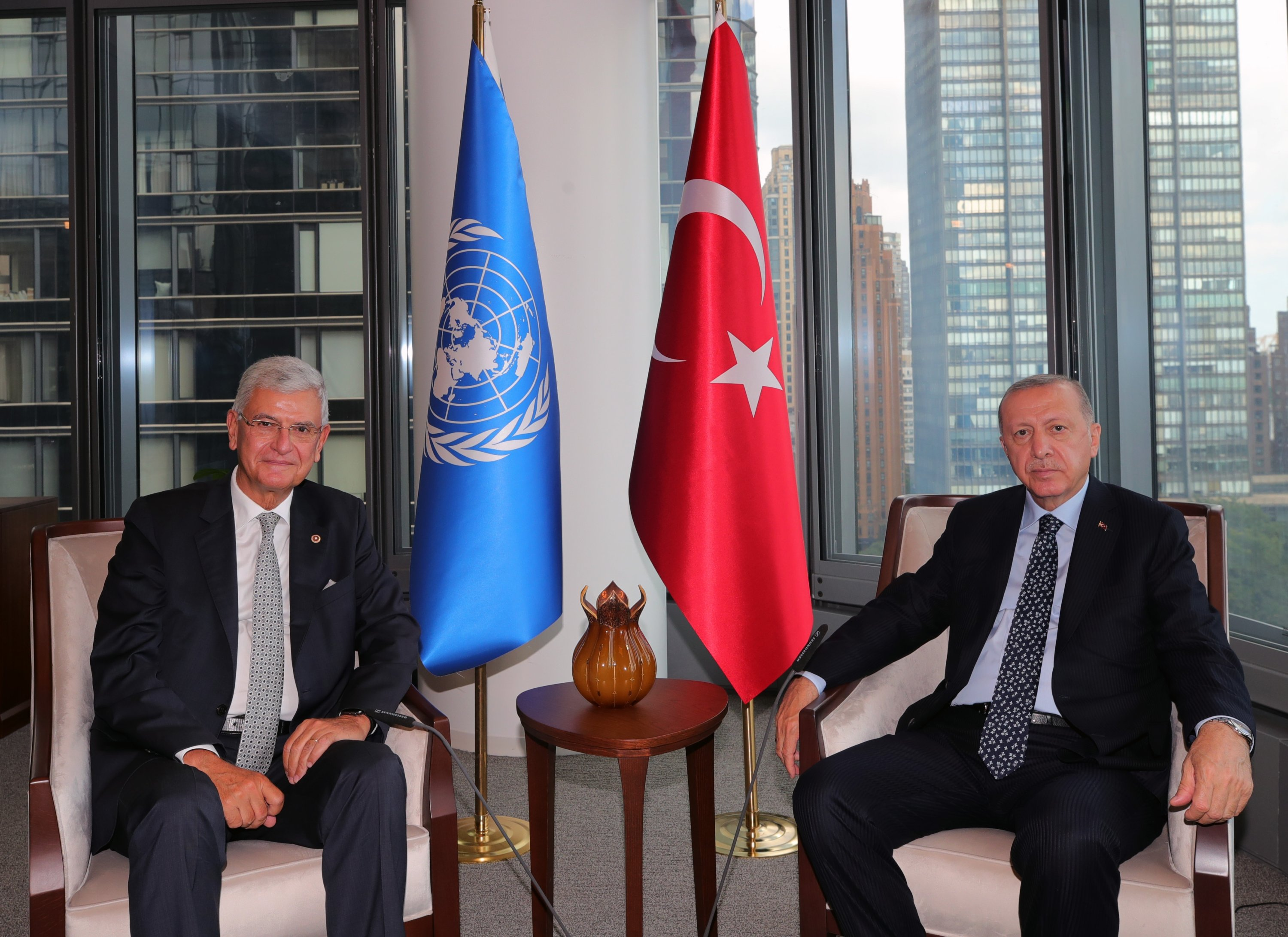 President Recep Tayyip Erdoğan received Volkan Bozkır (L), who completed his term as the 75th President of the United Nations General Assembly in New York, U.S., Sept. 20, 2021. (AA Photo)