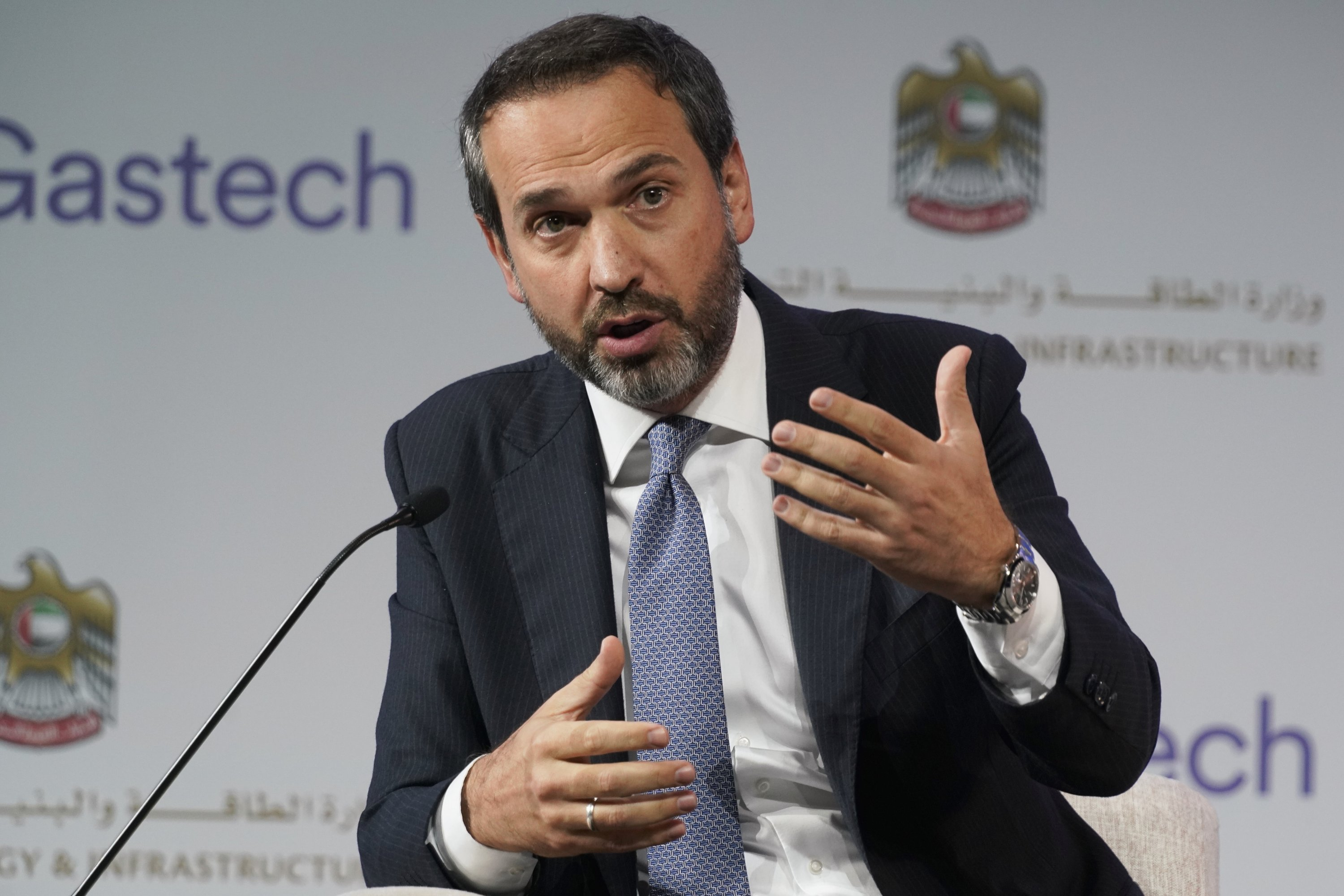 Turkey's Deputy Energy and Natural Resources Minister Alparslan Bayraktar gestures during a discussion on stage at the Gastech 2021 conference in Dubai, United Arab Emirates, Sept. 21, 2021. (AP Photo)