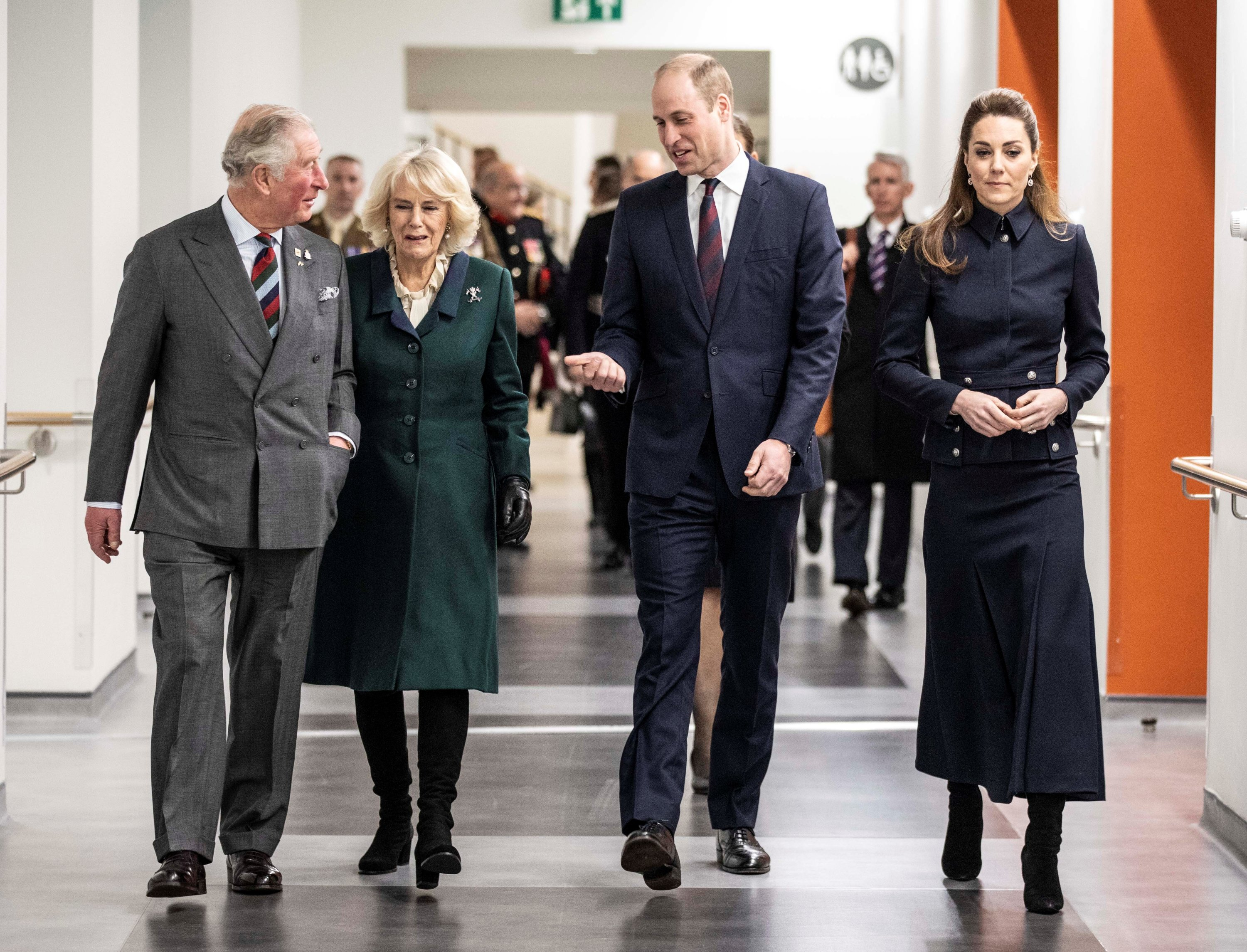 Britain's Prince Charles and Camilla, Duchess of Cornwall, and Prince William, and Catherine, Duchess of Cambridge, are seen during a joint visit to the Defence Medical Rehabilitation Center (DMRC) in Nottinghamshire, Britain, February 11, 2020. (REUTERS Photo)