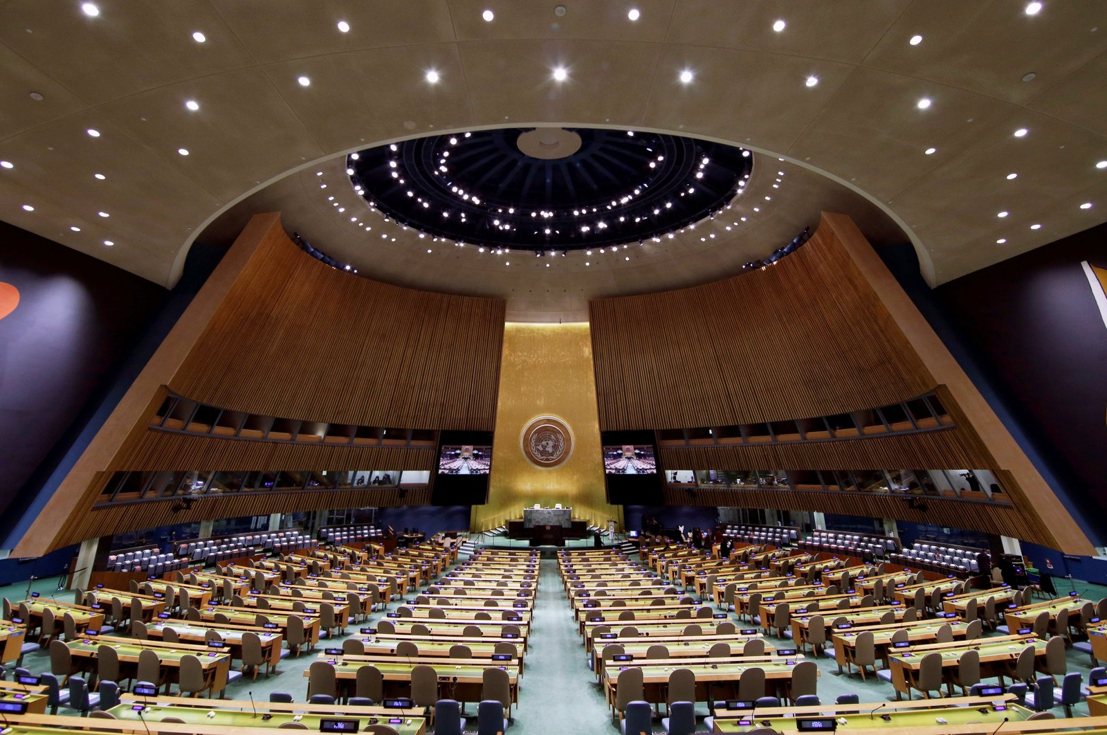 The U.N. General Assembly Hall is empty before the start of the SDG Moment event as part of the U.N. General Assembly 76th session General Debate at United Nations Headquarters, in New York, U.S., Sept. 20, 2021. (Reuters Photo)