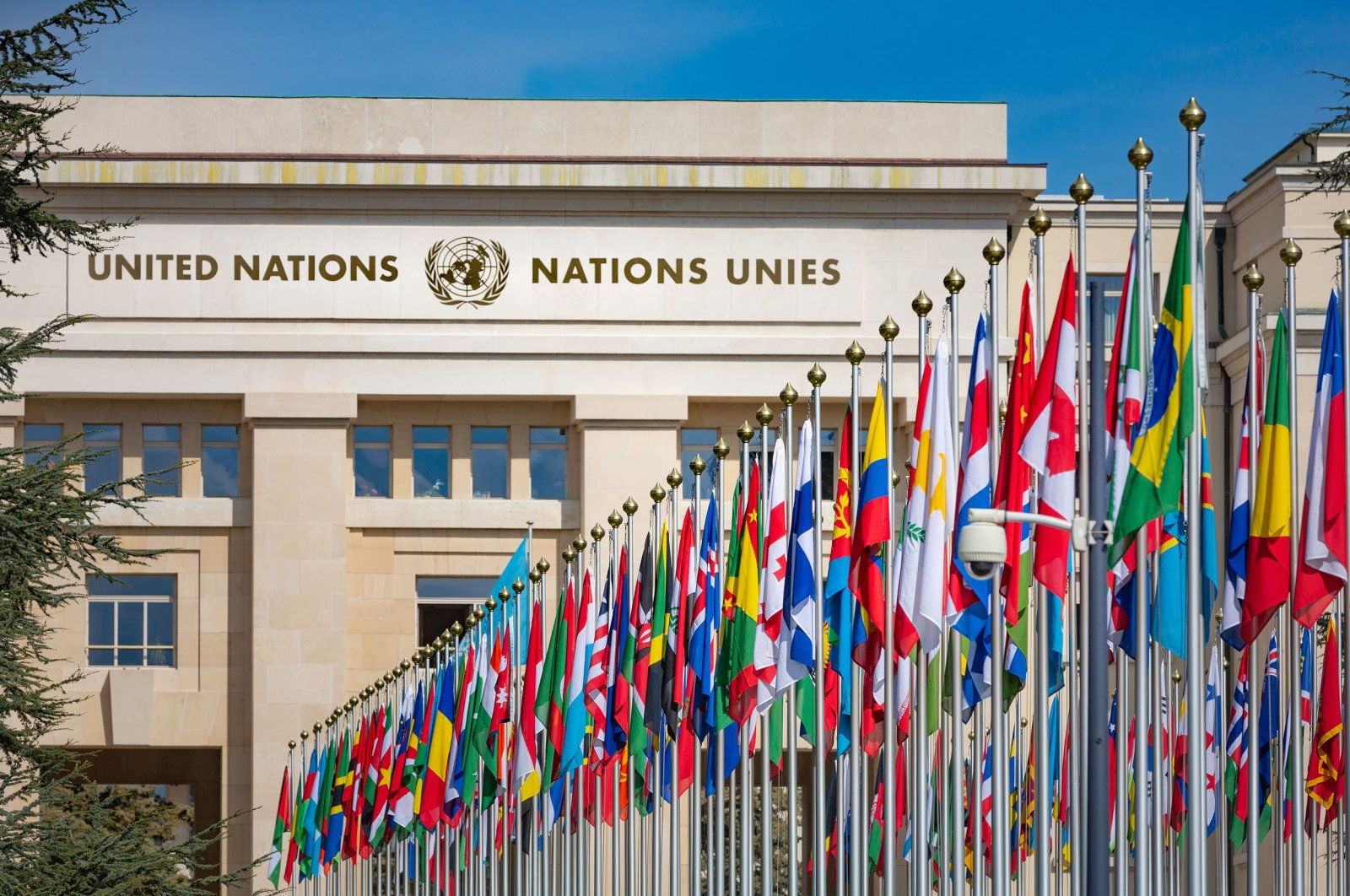 Flags of various countries are seen outside the building of the United Nations, Geneva, Switzerland. (Shutterstock Photo)