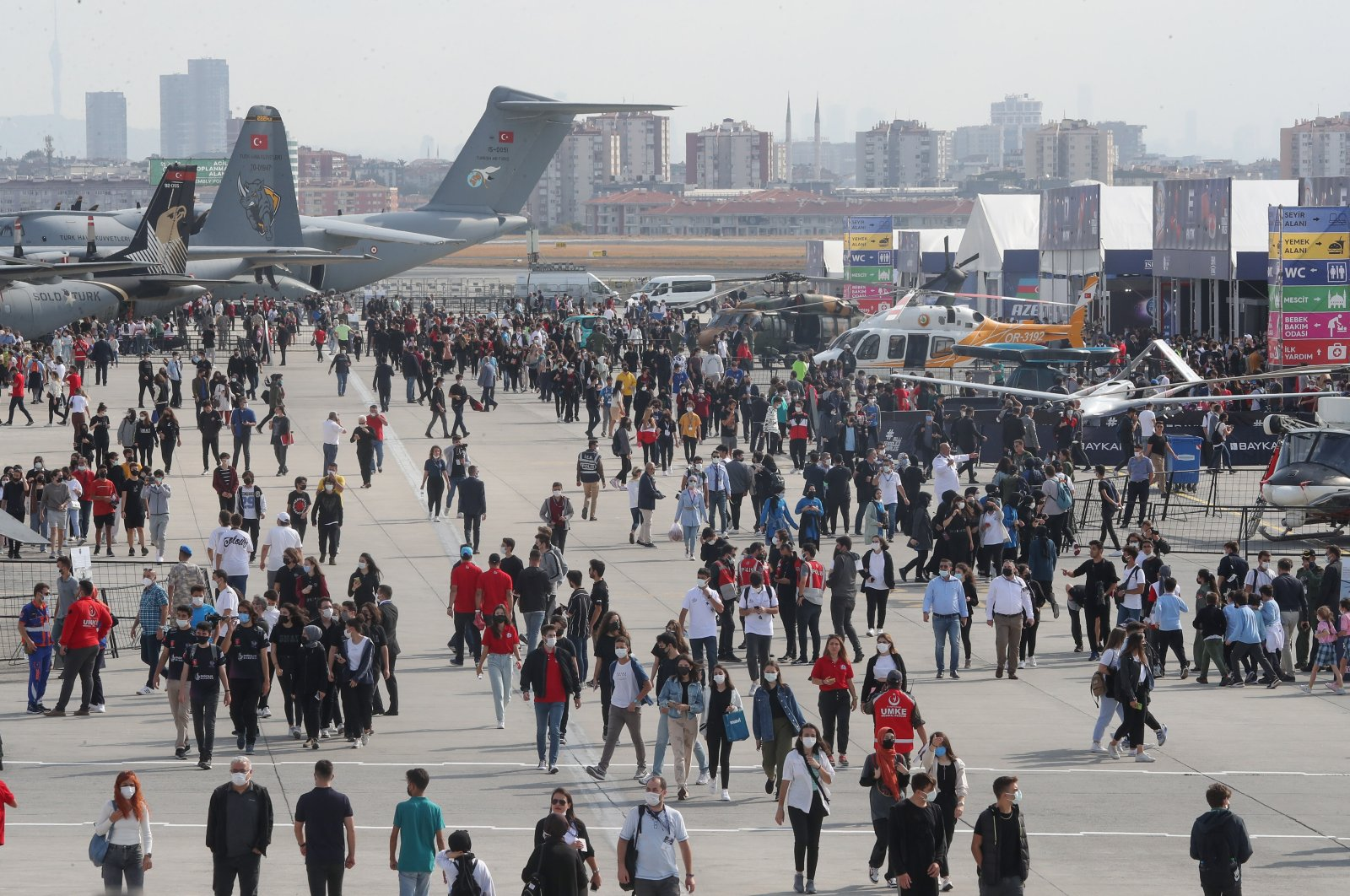 Visitors arrive at Atatürk Airport for the fourth edition of Turkey's largest aerospace and technology event Teknofest, in Istanbul, Turkey, Sept. 21, 2021. (DHA Photo)