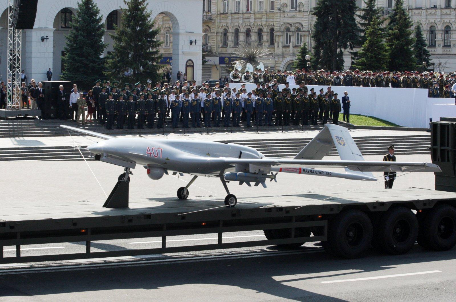 A Bayraktar TB2 UCAV belonging to the Ukrainian army on display during a military parade in Kyiv, Ukraine, Aug. 24, 2021. (AA Photo)